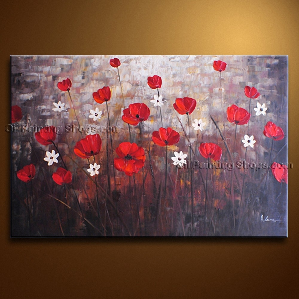 Contemporary Wall Art Floral Painting Poppy Flower On Canvas Regarding Most Popular Poppies Canvas Wall Art (View 3 of 15)