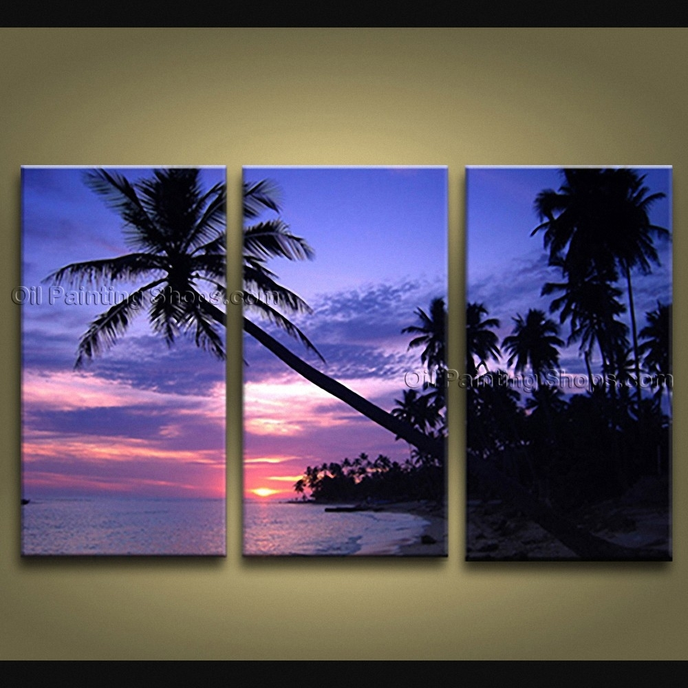 Contemporary Wall Art Seascape Painting Hawaii Beach On Canvas Intended For Most Popular Hawaii Canvas Wall Art (View 2 of 15)