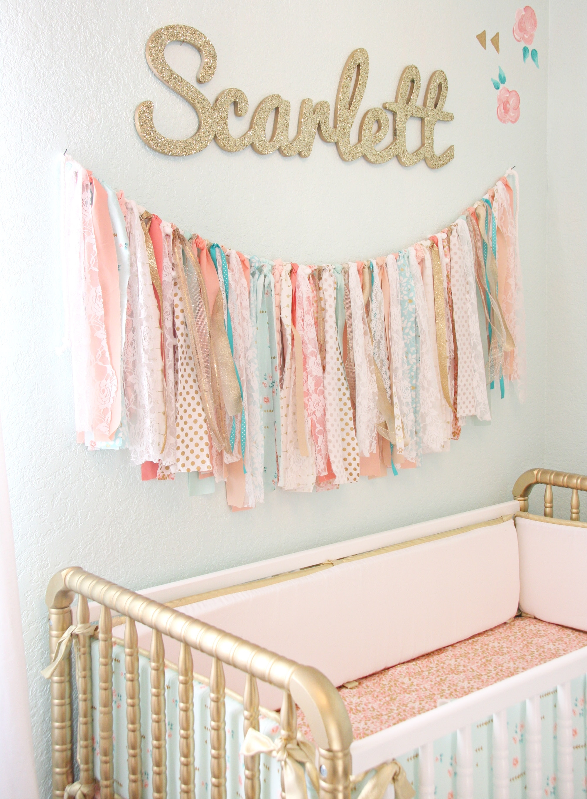 Coral, Mint, And Gold Vintage Style: Scarlett's Nursery Reveal Regarding Most Current Fabric Wall Art For Nursery (View 12 of 15)