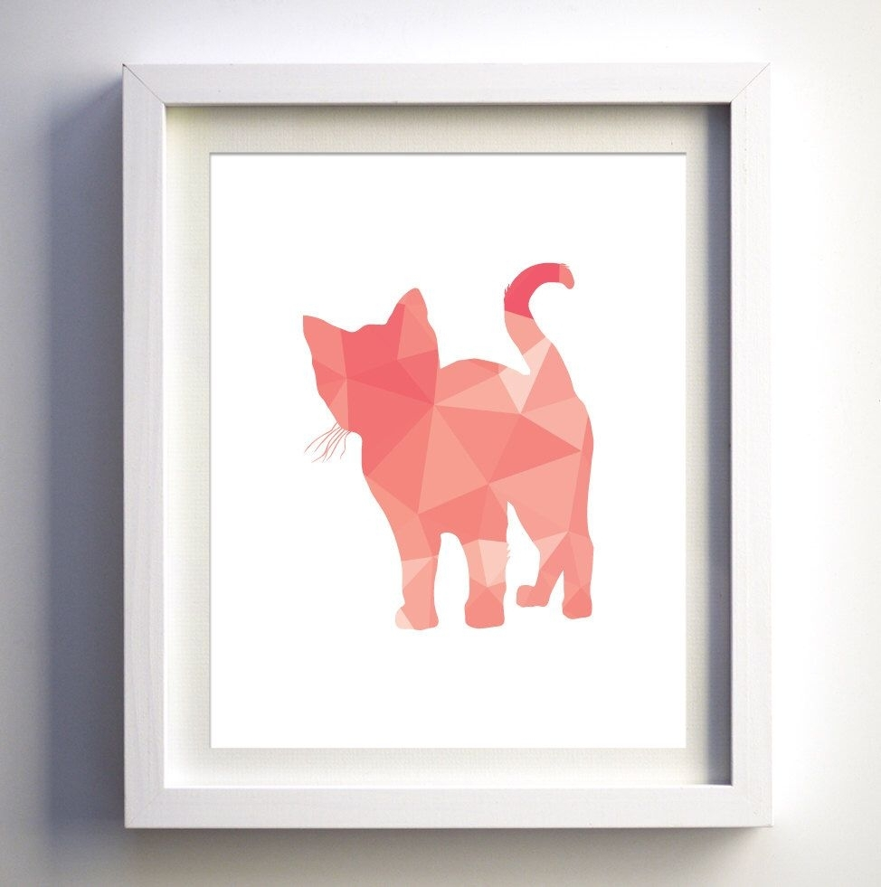 Coral Pink Kitten Print, Geometric Cat Kitten, Geometric Animal With Regard To Most Up To Date Framed Animal Art Prints (View 5 of 15)