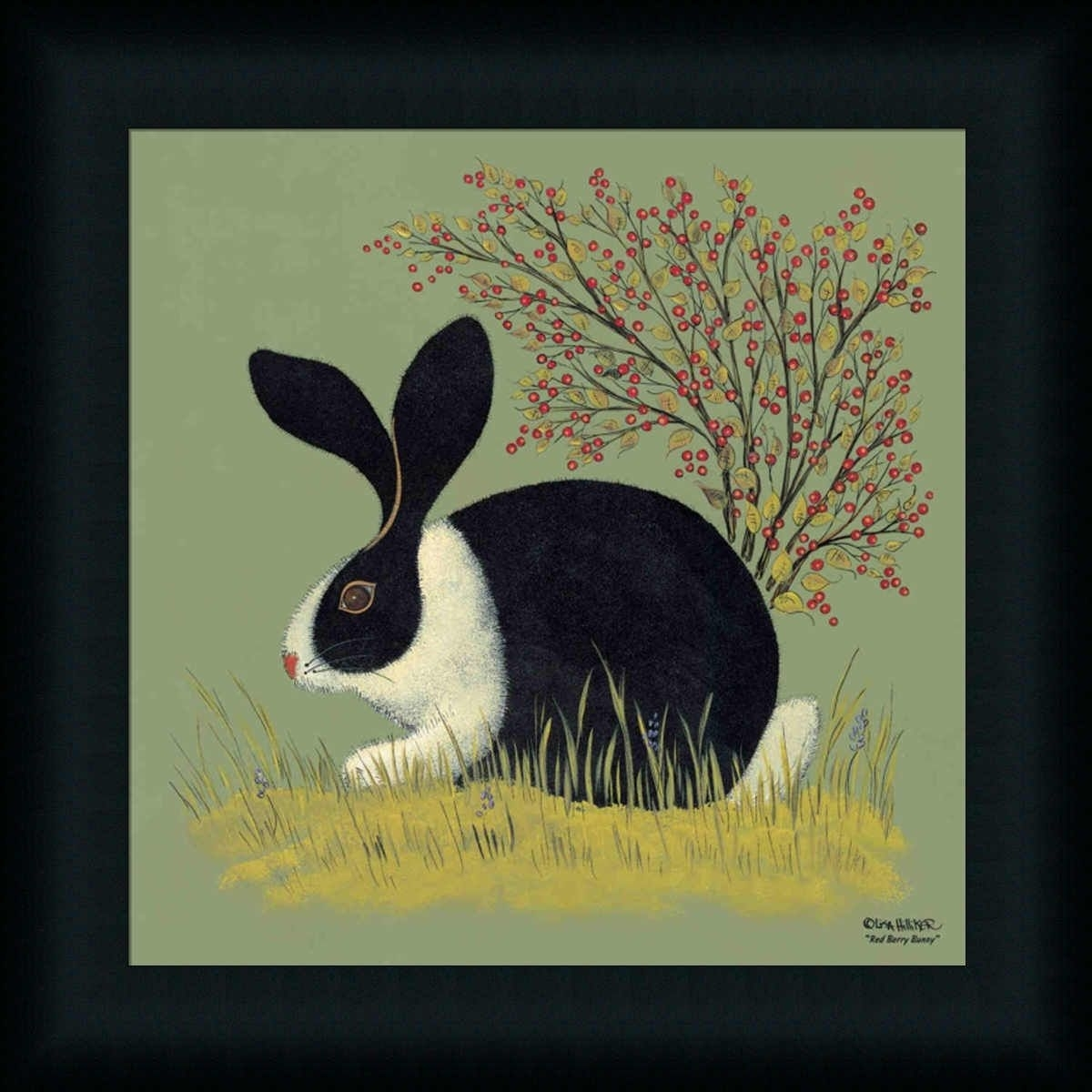 Country Folk Art Prints | Red Berry Bunny Country Folk Art Rabbit Throughout 2017 Framed Folk Art Prints (Gallery 10 of 15)