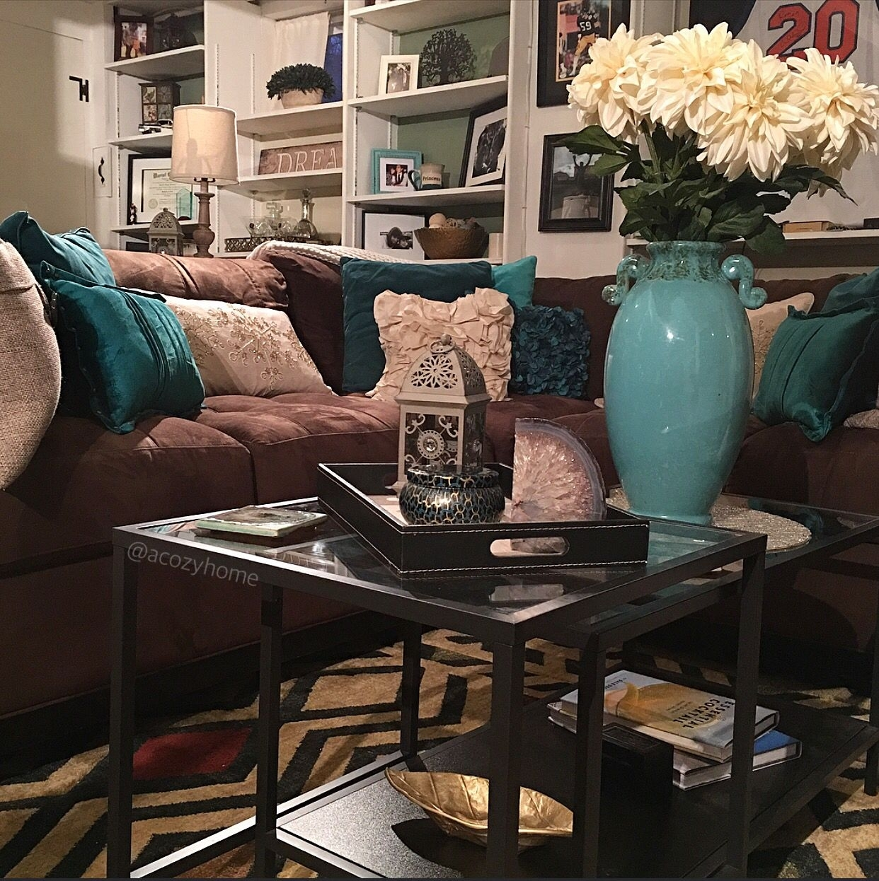 Cozy Brown Couch With Teal Accents, Turquoise And Brown, Built In Pertaining To 2017 Brown Couch Wall Accents (View 3 of 15)