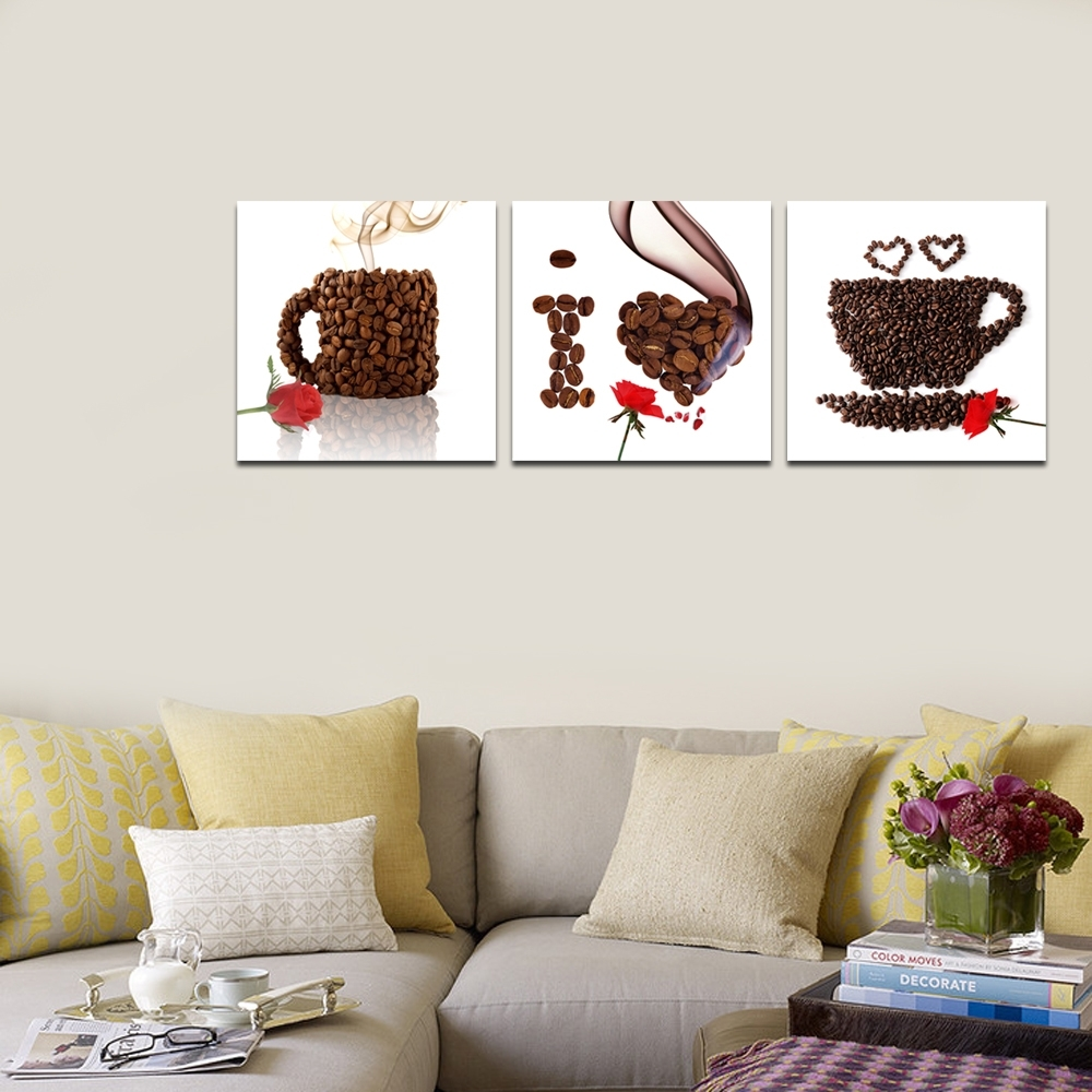 Creative Coffee Cup Canvas Print/triptych Canvas Art/rose Flower With Regard To Most Recent Coffee Canvas Wall Art (View 13 of 15)