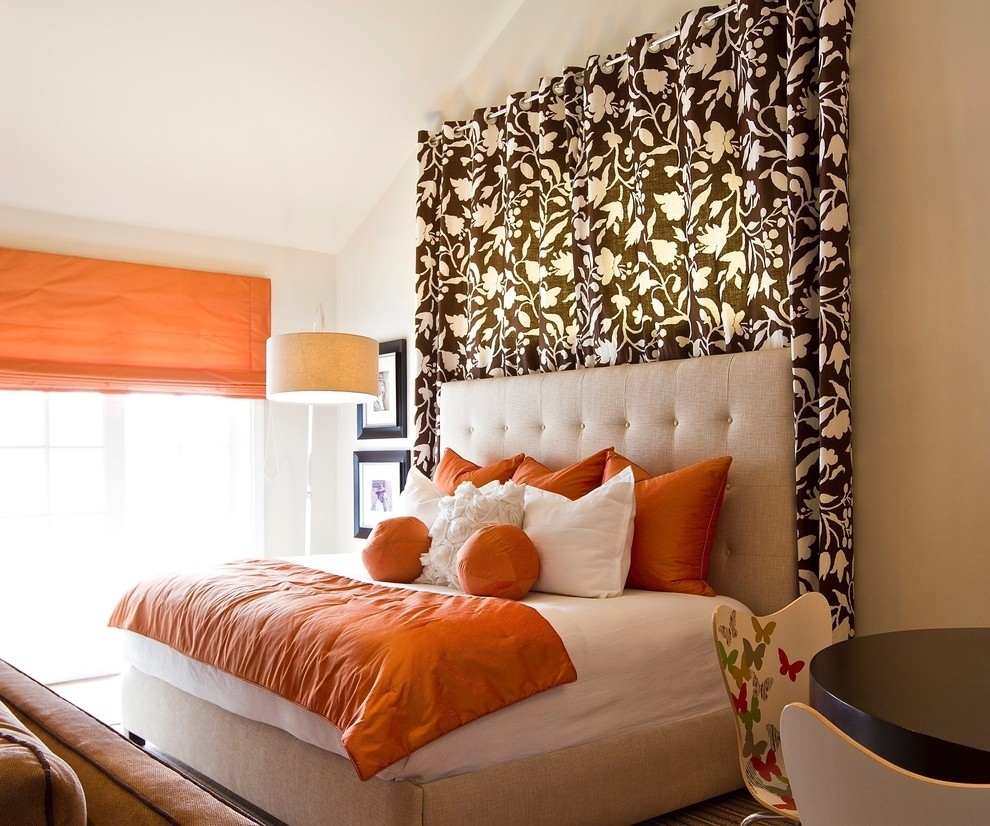 Curtain Panels Design Ideas Bedroom Contemporary With Curtain With 2018 Fabric Wall Art Above Bed (View 4 of 15)