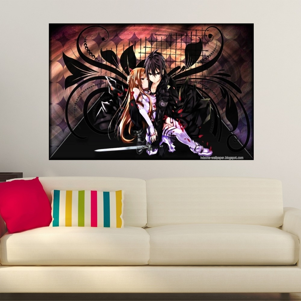 Custom Canvas Print Sword Art Online Poster Fabric Cloth Silk Wall Intended For Most Recently Released Silk Fabric Wall Art (View 4 of 15)