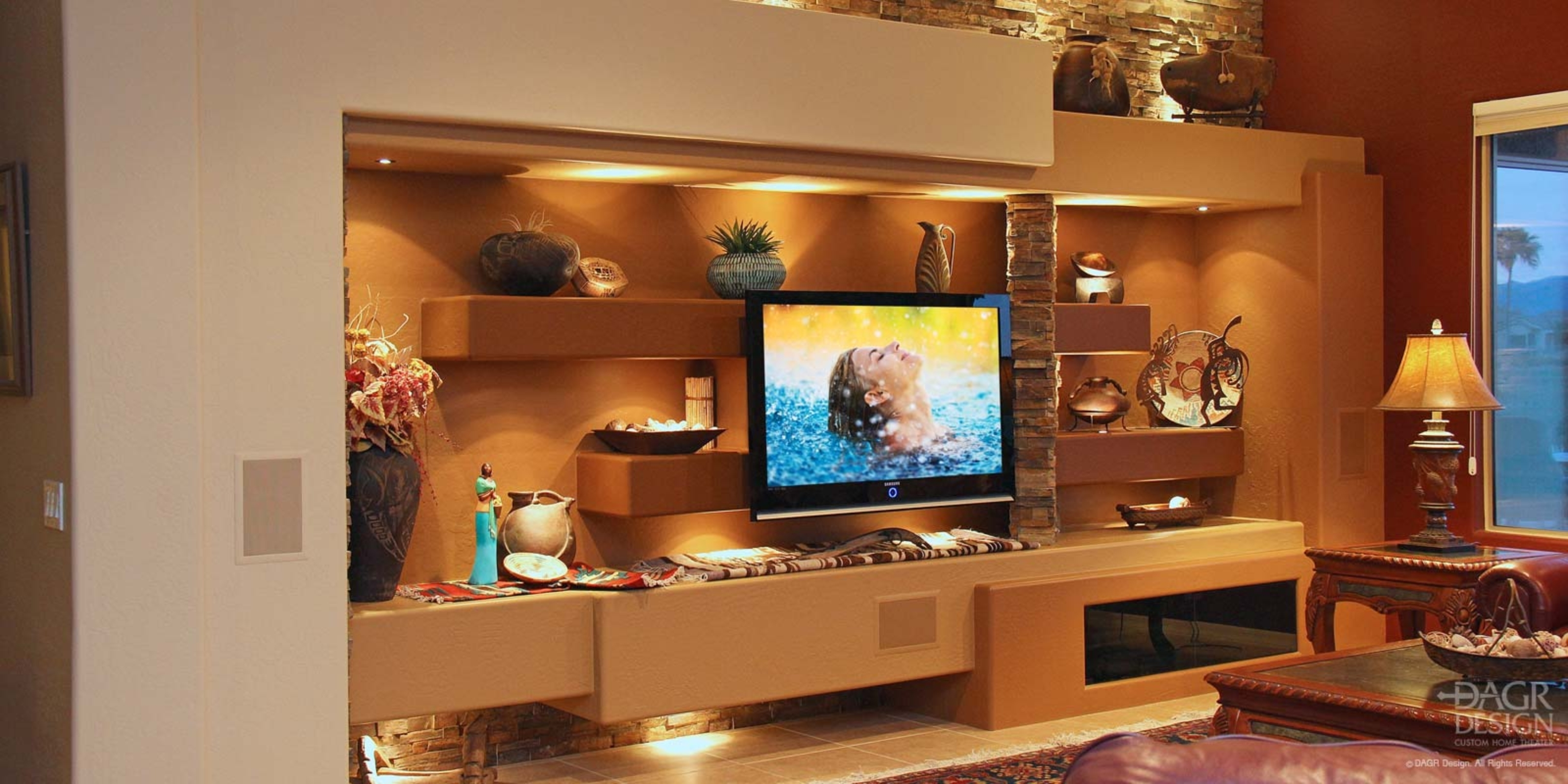 Custom Media Wall & Home Entertainment Center Design • Dagr Design With Regard To Most Current Wall Accents For Media Room (View 8 of 15)