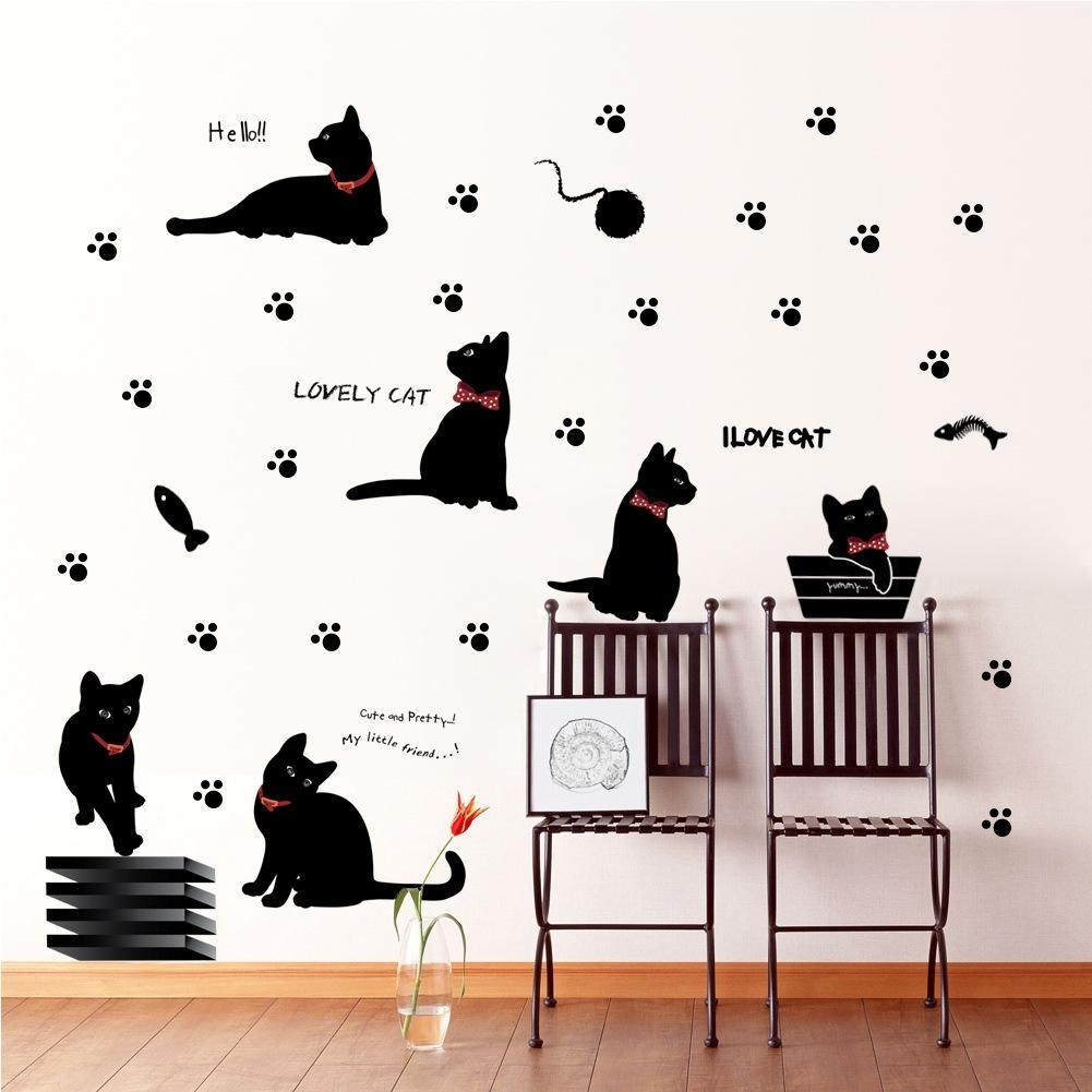 Cute Black Cat Wall Stickers Fashion Background Corridor Bedroom Within Best And Newest Adhesive Art Wall Accents (View 14 of 15)