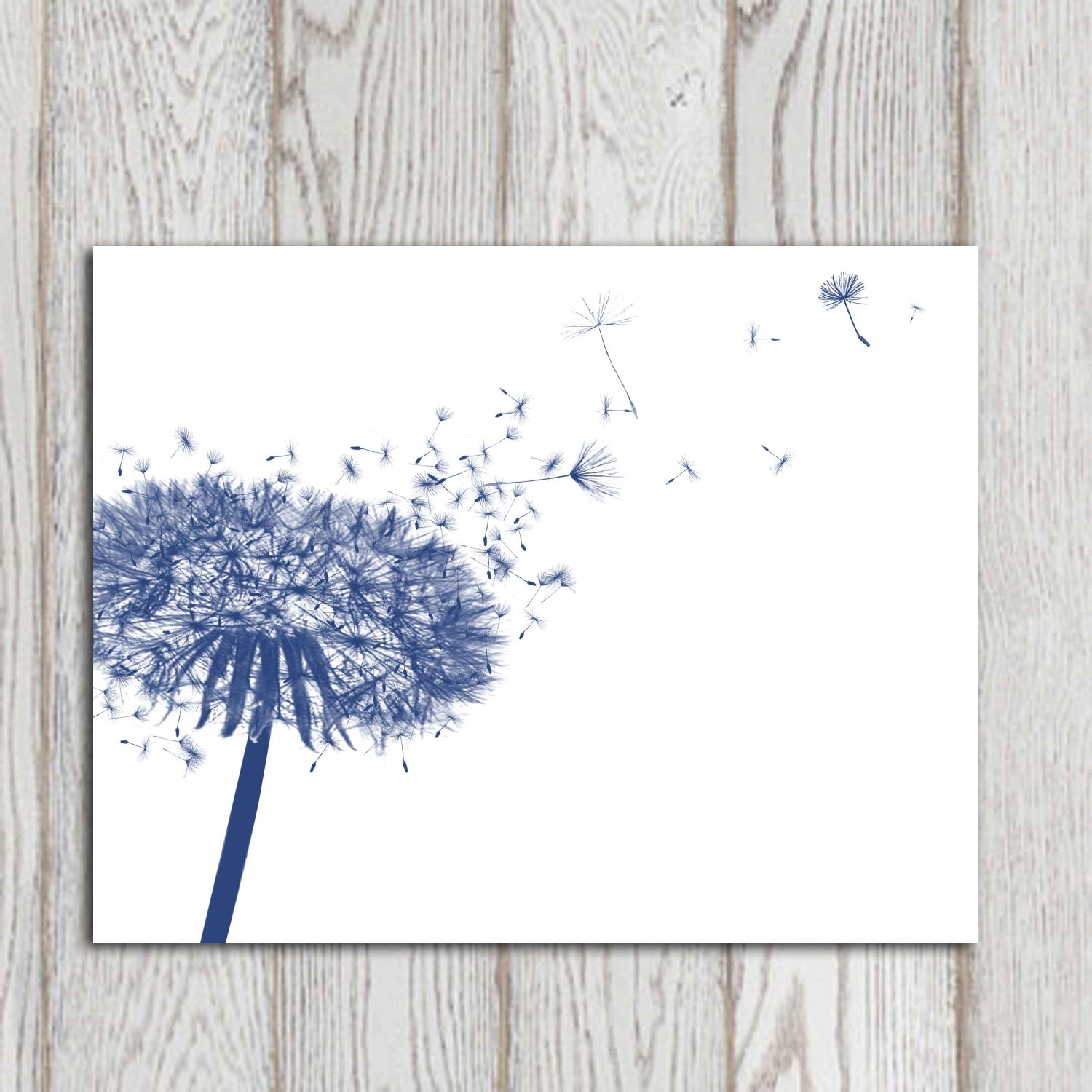Dandelion Decor Print Navy Blue Home Decor Navy Bedroom Decor Pertaining To Best And Newest Navy Canvas Wall Art (View 3 of 15)
