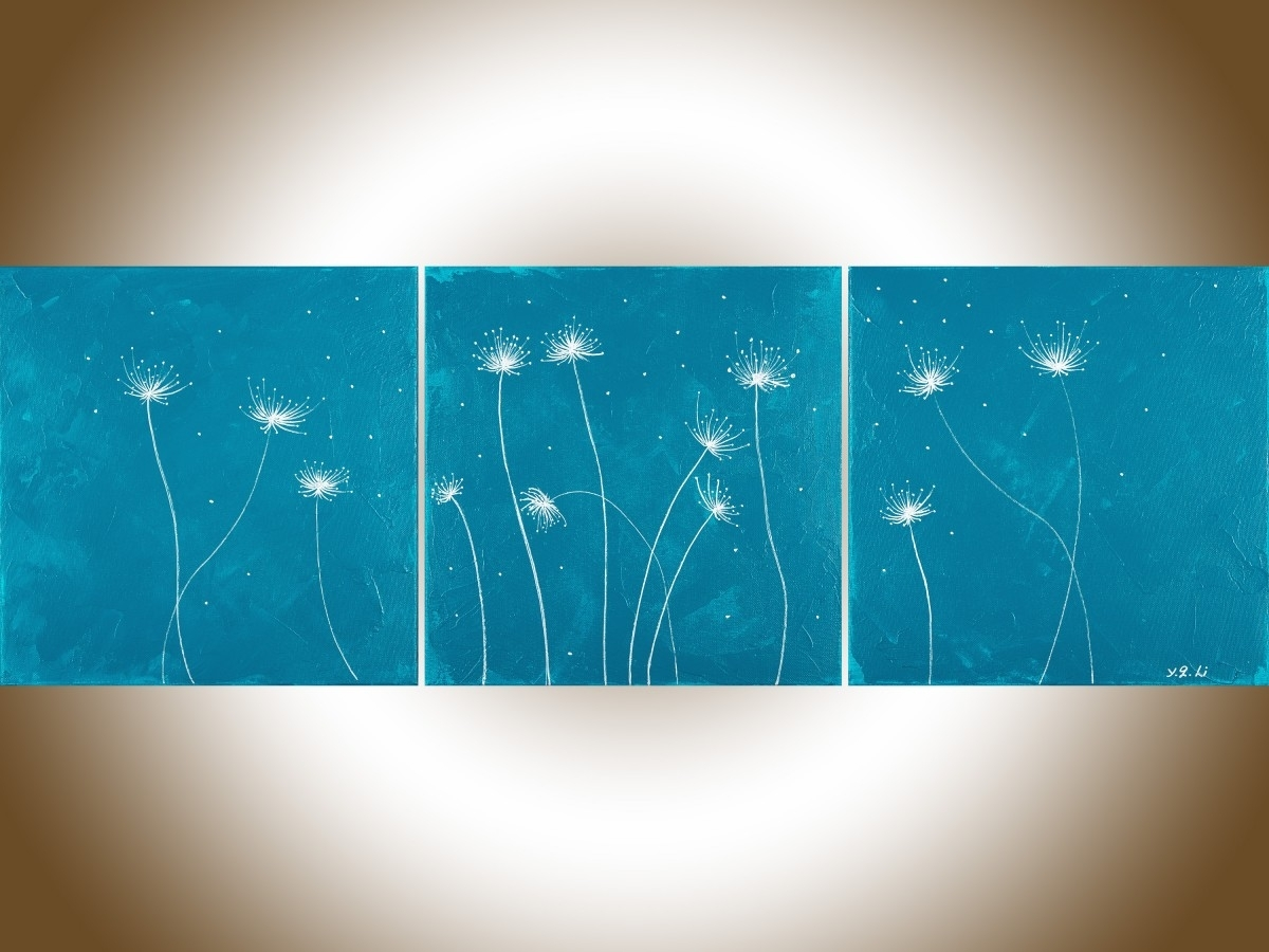 "Dandelions 3Qiqigallery 36""x12"" Original Modern Abstract Inside Latest Dandelion Canvas Wall Art (View 8 of 15)"