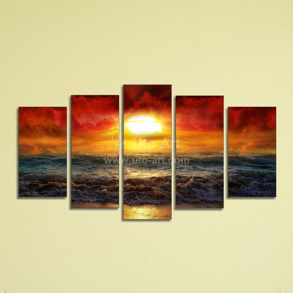 Decor: Cheap 5 Panel Canvas Wall Art Painting Ocean Beach For Within Most Recently Released Beach Canvas Wall Art (View 9 of 15)