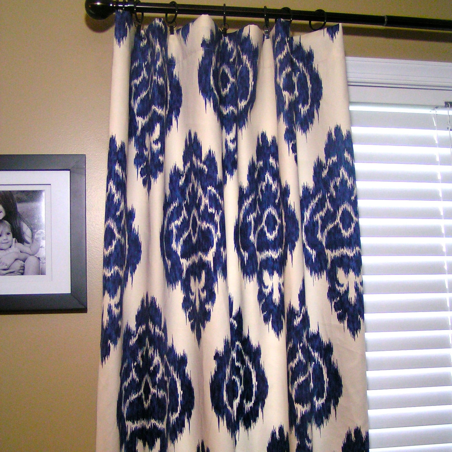 Decor: Contrasting Fabric Borders Ikat Curtains With Blinds And Intended For Most Current Ikat Fabric Wall Art (View 12 of 15)