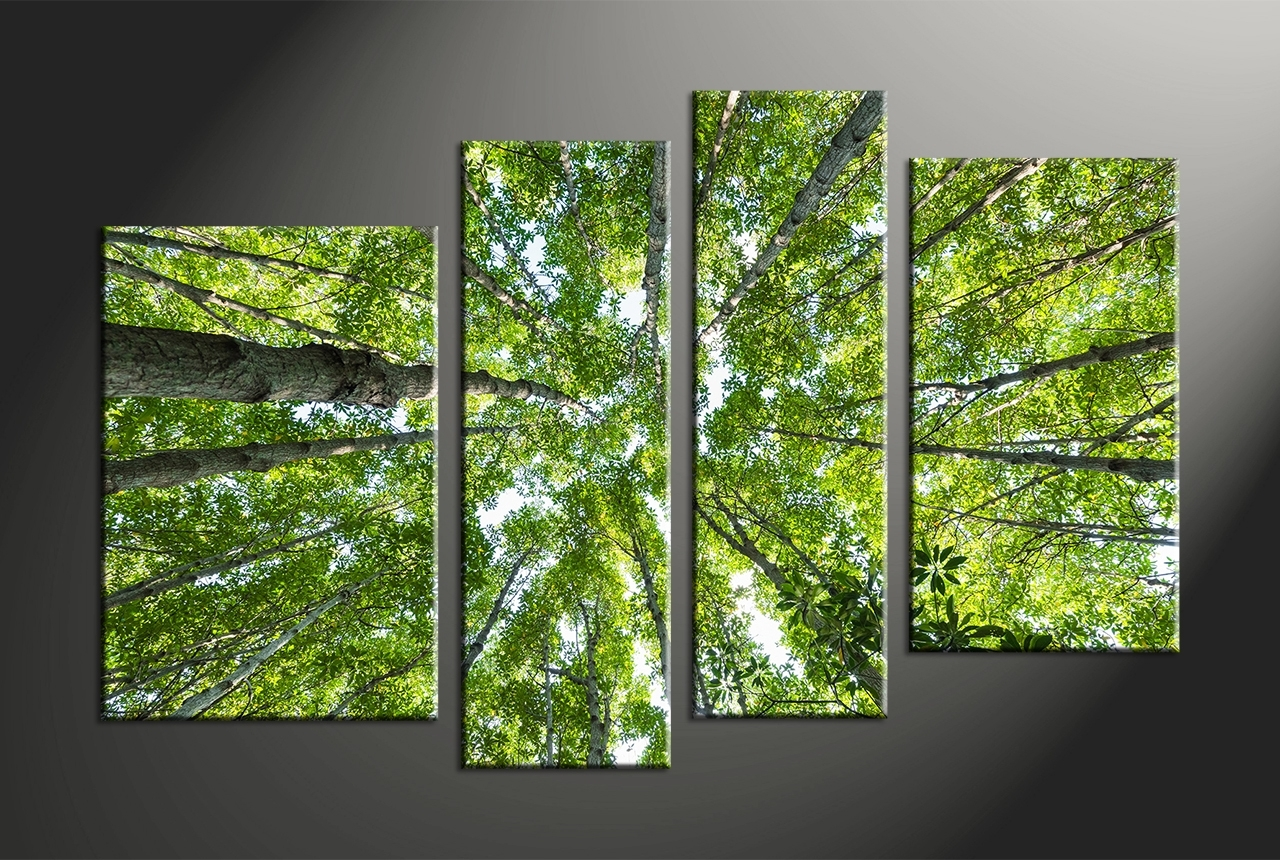 Decor Tips: 4 Piece Nature Trees Canvas Art For Captivating Living Intended For Recent Canvas Wall Art At Wayfair (View 13 of 15)