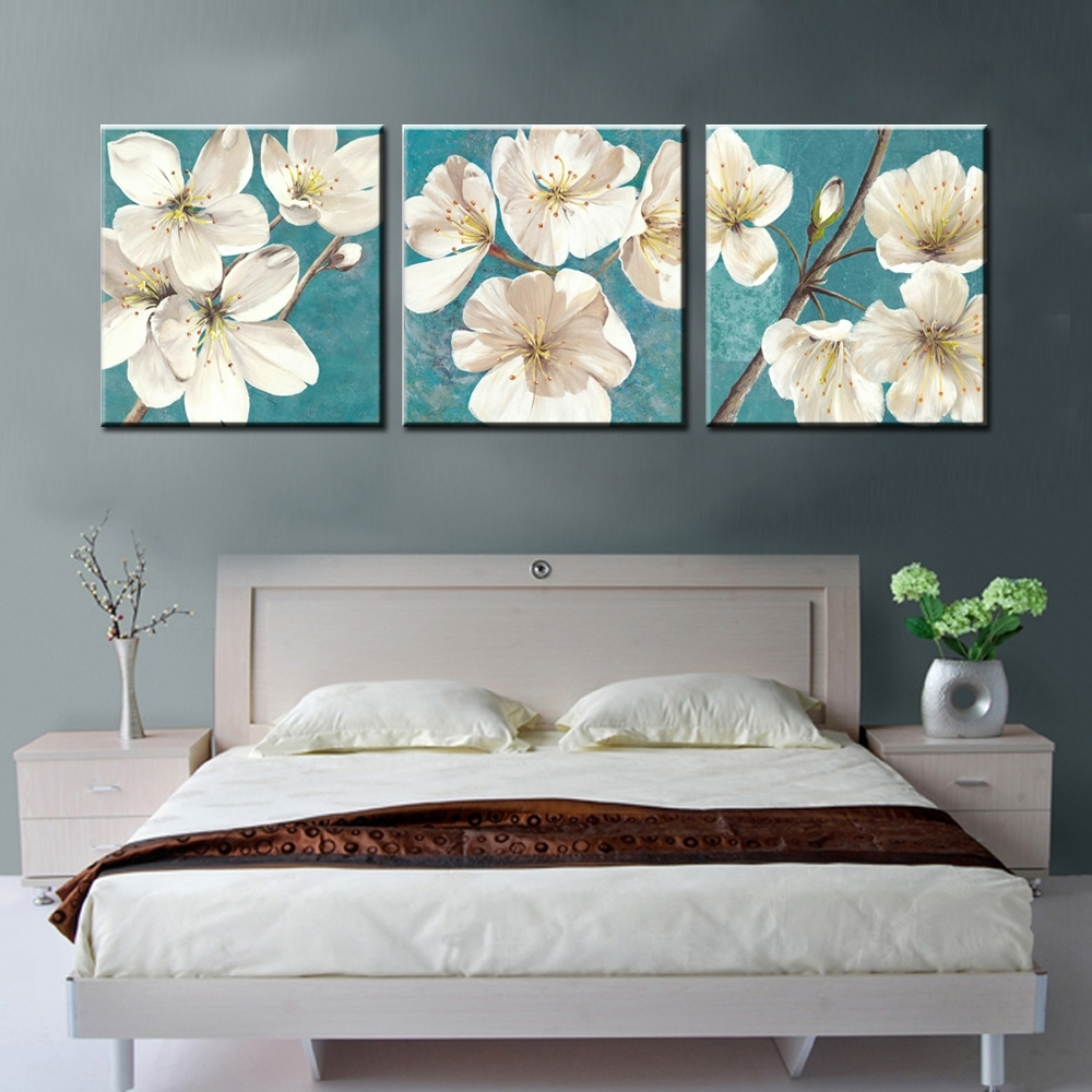Decor Tips: Lovely Floral 3 Piece Canvas Wall Art Sets For Within Best And Newest Bedroom Canvas Wall Art (Gallery 12 of 15)