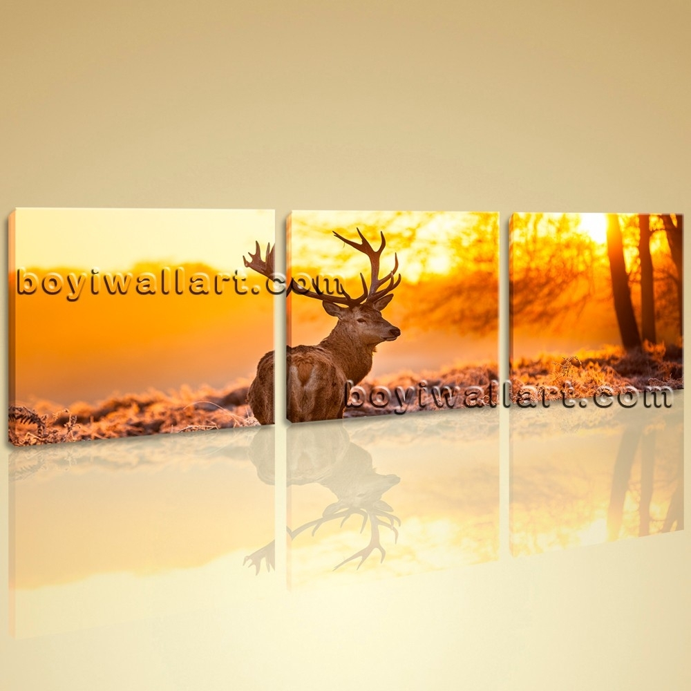 Decor Wall Art Pictures Canvas Print Landscape Animal Deer Morning Intended For Newest Deer Canvas Wall Art (View 8 of 15)