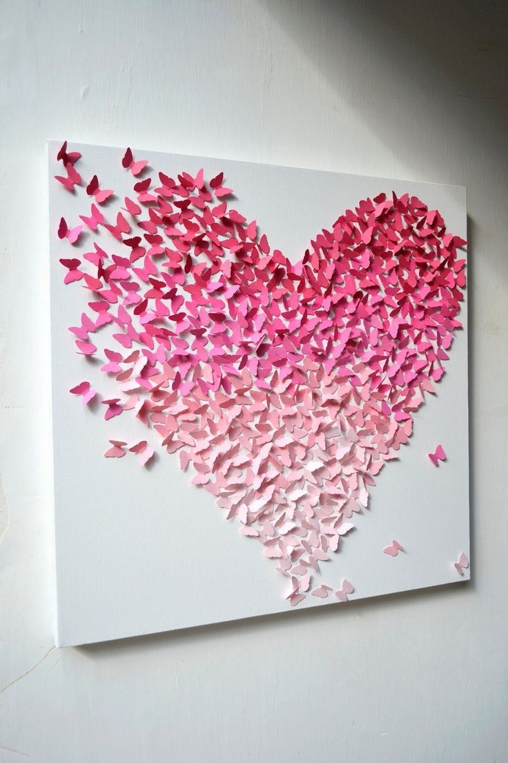 Decorate Your Home With Cute Butterfly Wall Décor | Butterfly In 2017 Hearts Canvas Wall Art (View 6 of 15)