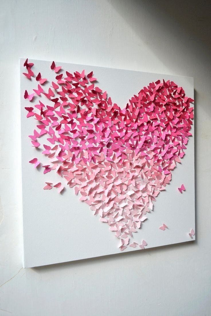 Decorate Your Home With Cute Butterfly Wall Décor | Butterfly In Newest Butterflies  Canvas Wall Art