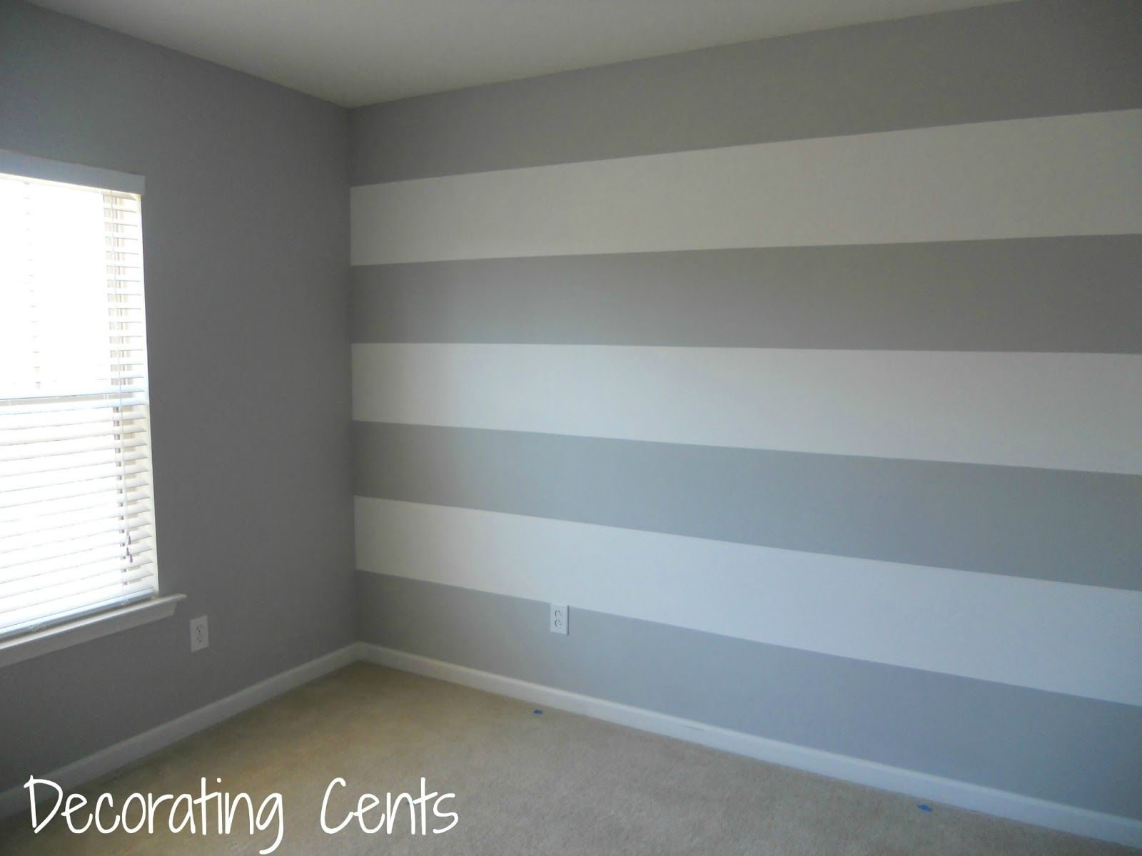 Decorating Cents: Painting A Striped Wall | Bedrooms | Pinterest In Most Recently Released Vertical Stripes Wall Accents (Gallery 8 of 15)