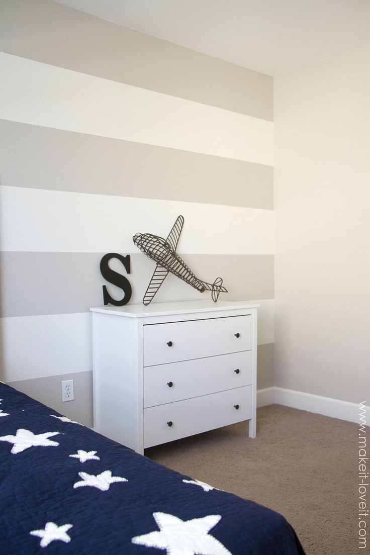 Decorating Cents: Painting A Striped Wall. Love The Accent Wall With 2018 Horizontal Stripes Wall Accents (Gallery 4 of 15)