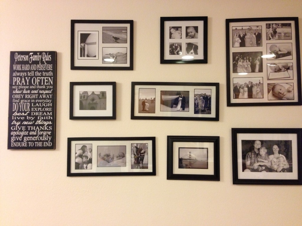Decorating Ideas: Fascinating Heart Shape Family Picture Collage Throughout Latest Frames Wall Accents (View 15 of 15)