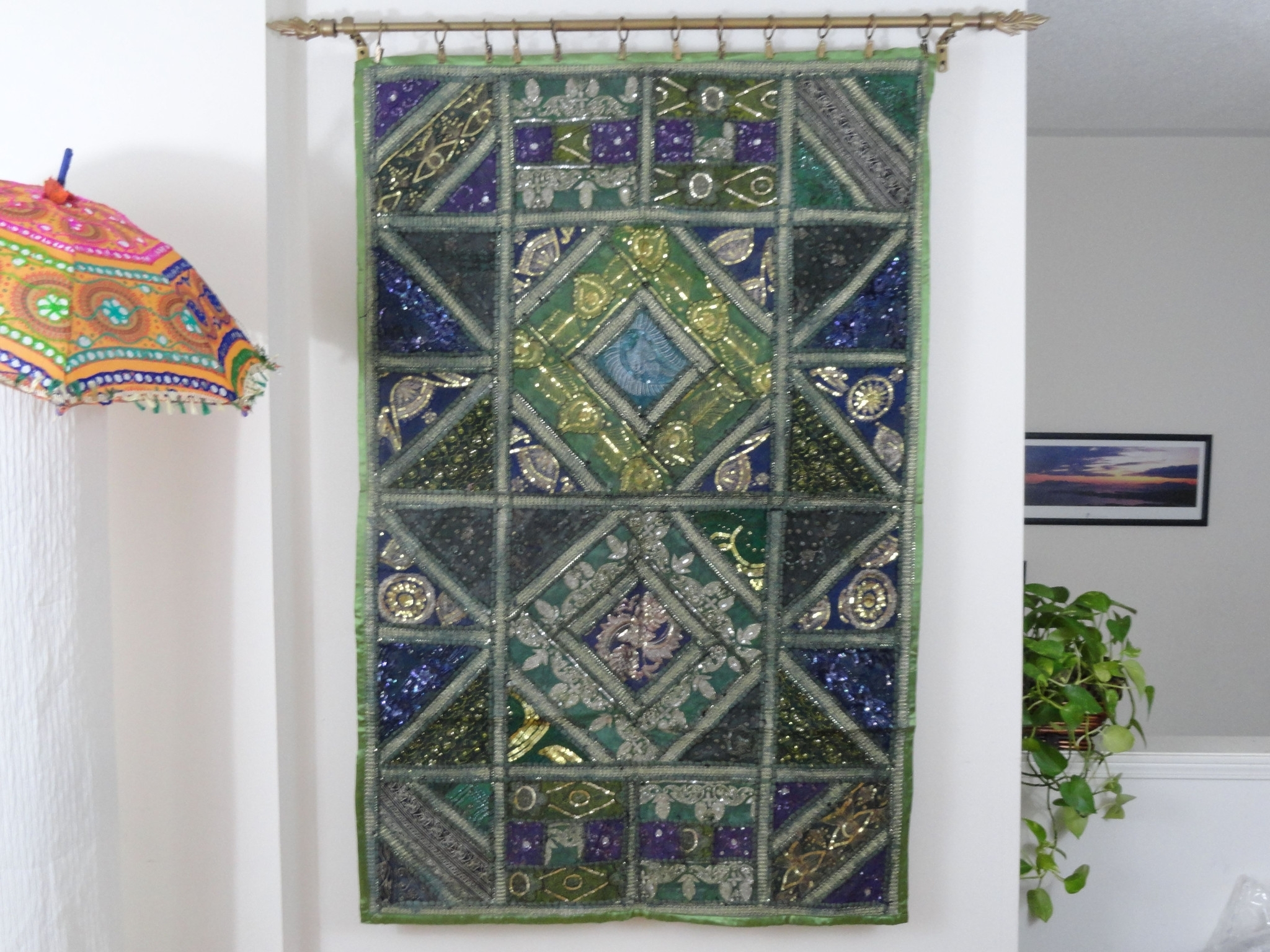 Decorating: Nursery Design With Biege Tapestry Wall Hangings And Regarding Most Popular Purple Fabric Wall Art (View 1 of 15)