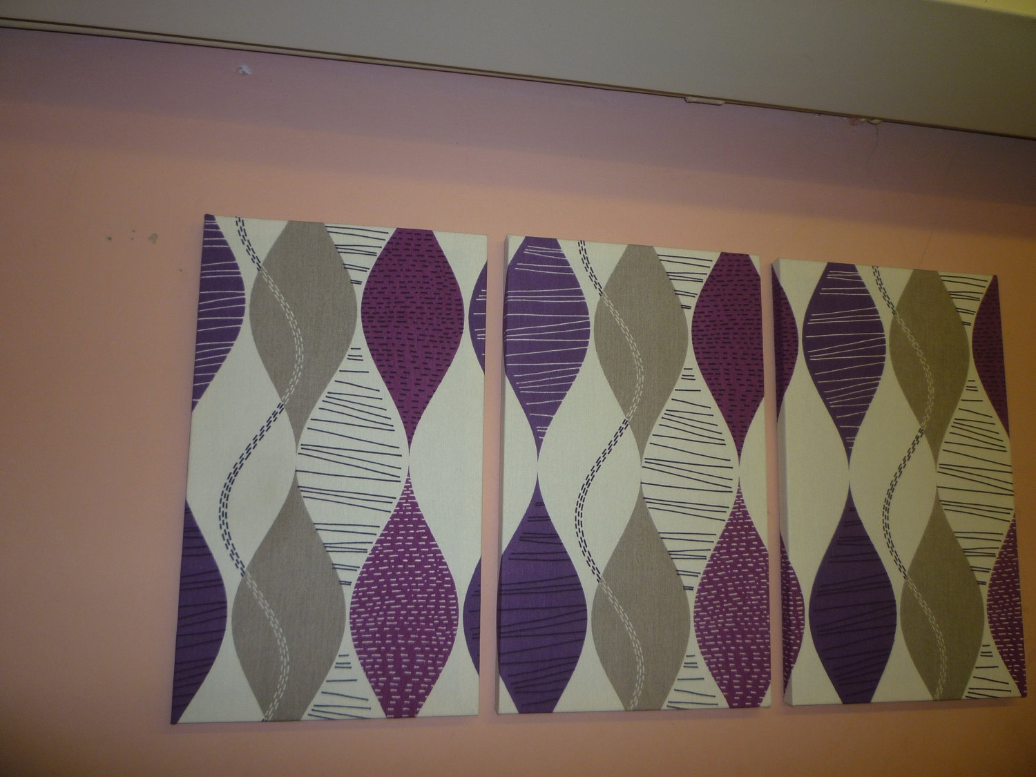 Decoration Ideas: Inspiring Wall Decoration For Living Room Area Regarding Current Purple Fabric Wall Art (View 3 of 15)