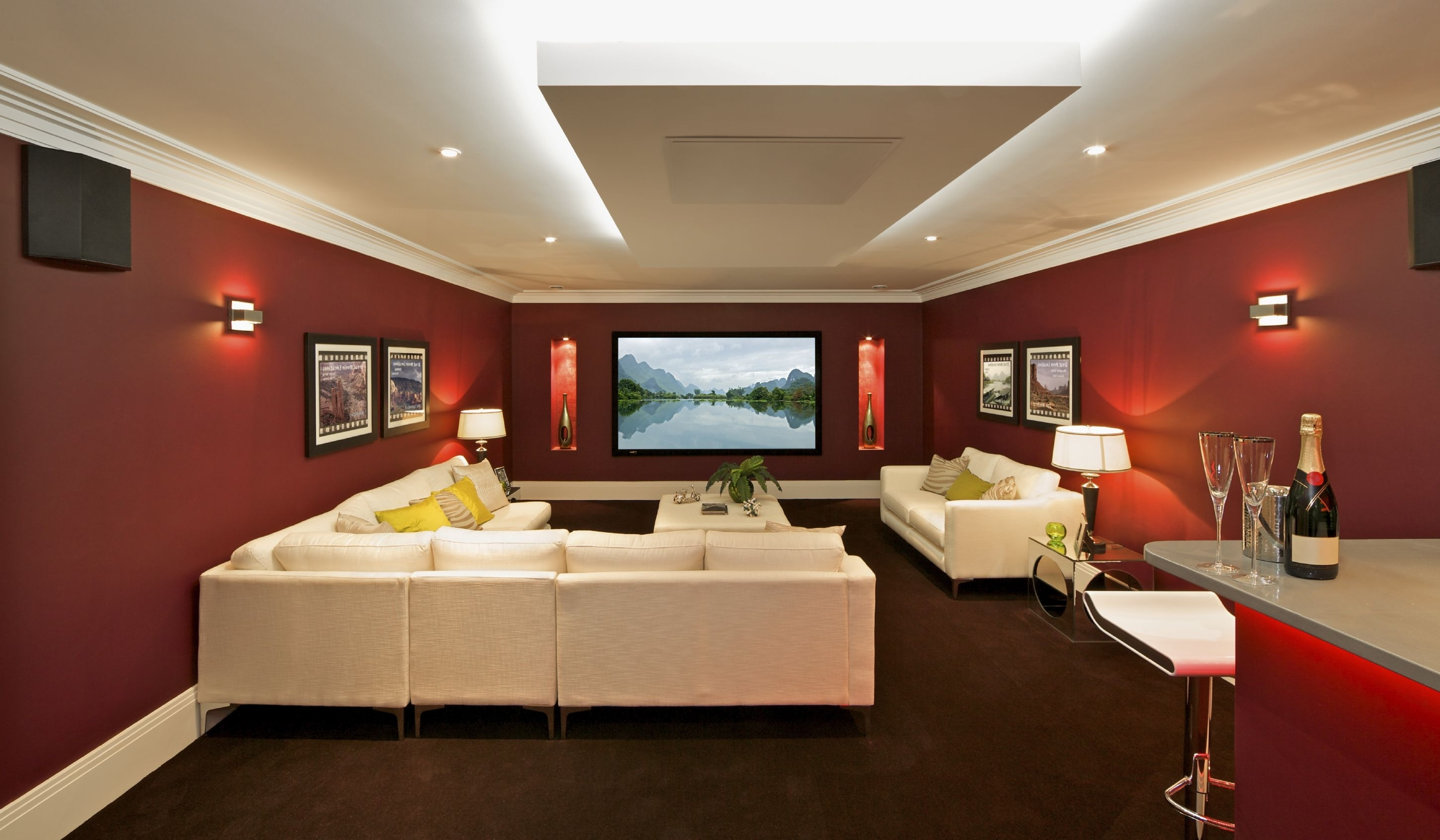 Decorations : Alluring House Theater Interior With Maroon Walls For Best And Newest Maroon Wall Accents (View 7 of 15)