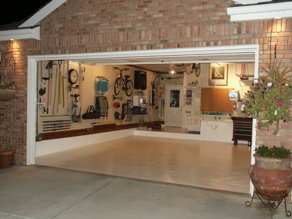 Decorations : Classic Garage Idea With Brick Wall Accents Also In Latest Garage Wall Accents (Gallery 6 of 15)