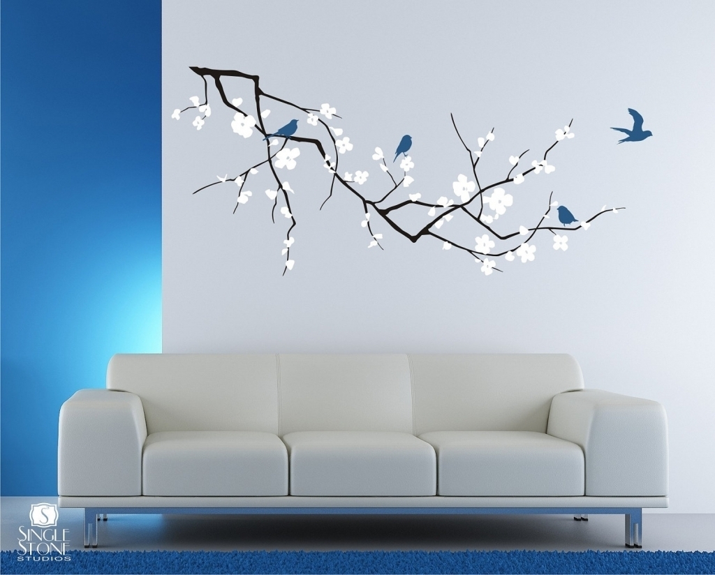Decorations Excellent Cherry Blossom Branch Wall Decal For With Within 2018 Vinyl Wall Accents (View 2 of 15)