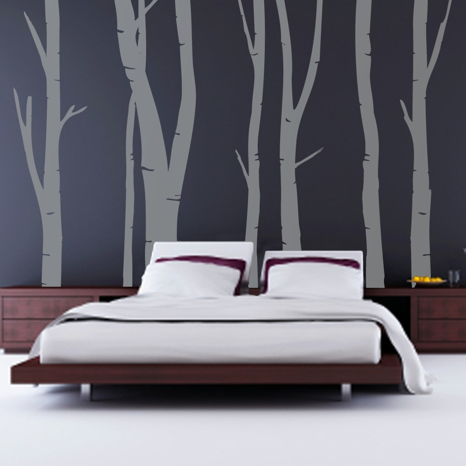 Decorations : Modern Black Modern Wall Bedroom Featuring Gray Within Newest Wall Accent Decals (View 6 of 15)