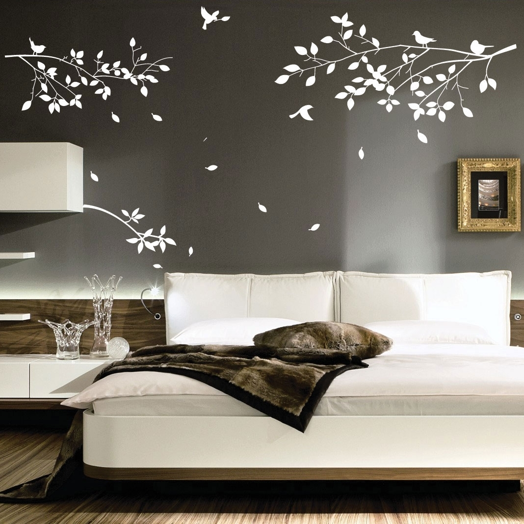 Decorations : White Tree Wall Art Decoration Ideas On Grey Wall Intended For Best And Newest Wall Accents For Grey Room (View 6 of 15)