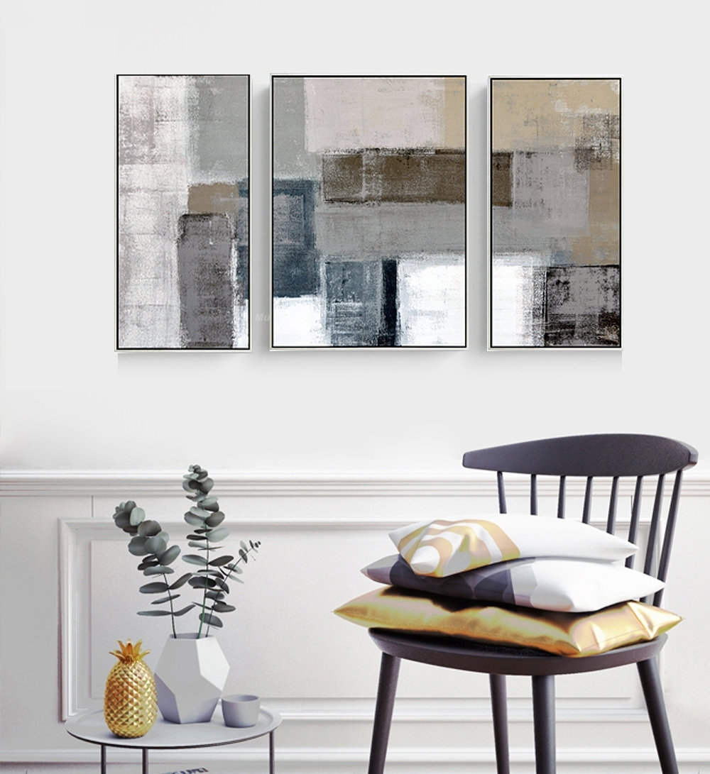 Decorative Canvas Painting 3 Piece Canvas Wall Art Wall Pictures For Most Up To Date Grey Canvas Wall Art (View 3 of 15)