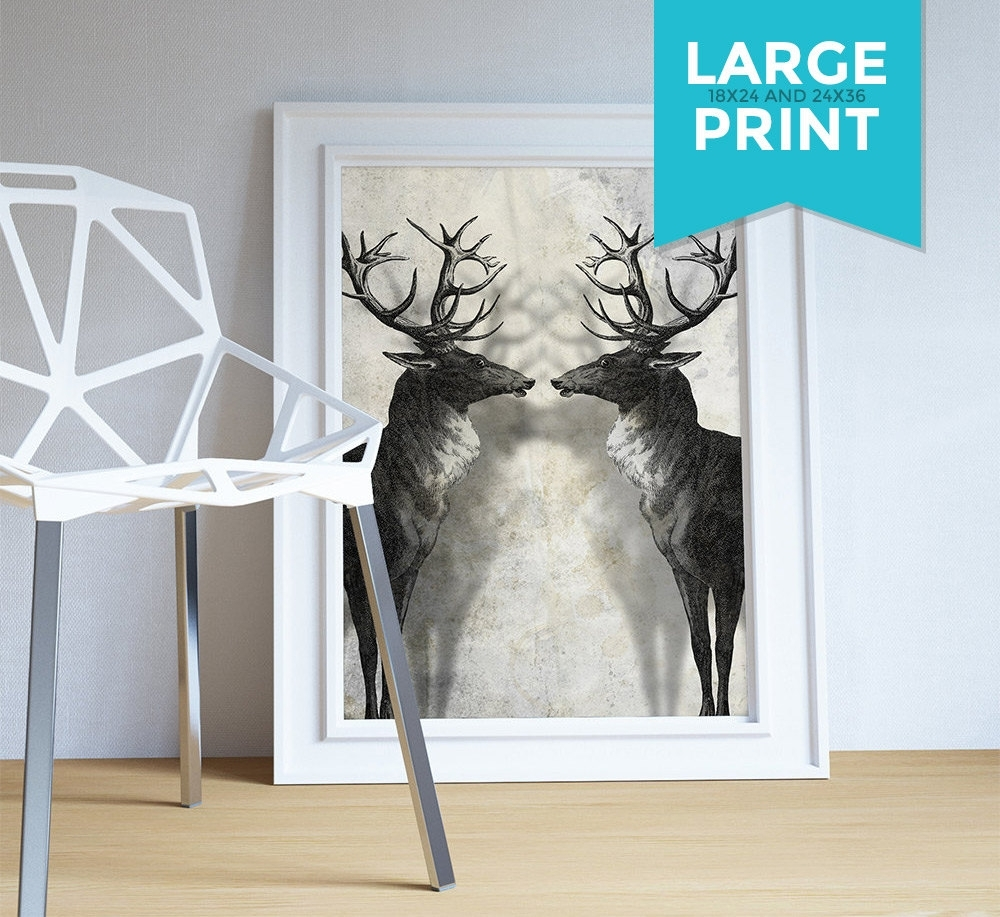 Deer Print Deer Antlers Stag Print Wall Art – Giclee Print On Throughout Most Recently Released Deer Canvas Wall Art (View 11 of 15)