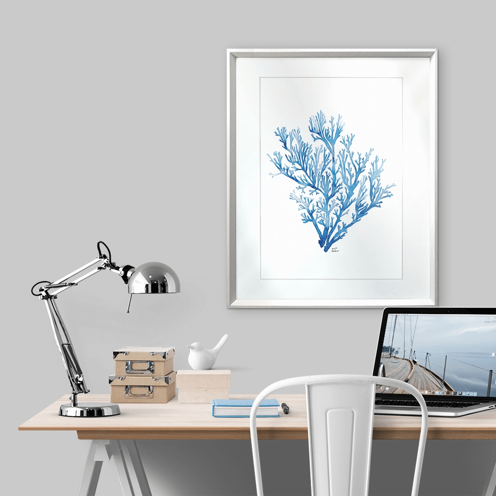 Delicate Coral Reef I In Indigo – Karibou Art Co In Best And Newest Framed Coral Art Prints (View 7 of 15)