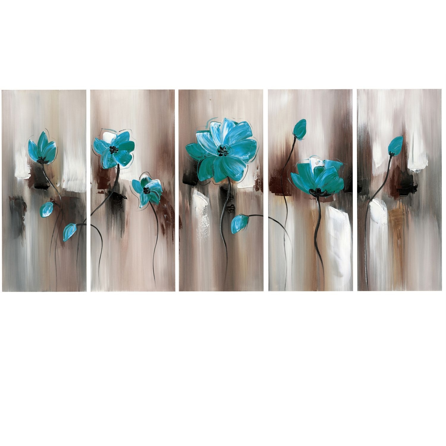 Design Art Green Emerald Modern Flower Art – Gallery Wrapped For Recent Canvas Wall Art In Canada (View 9 of 15)