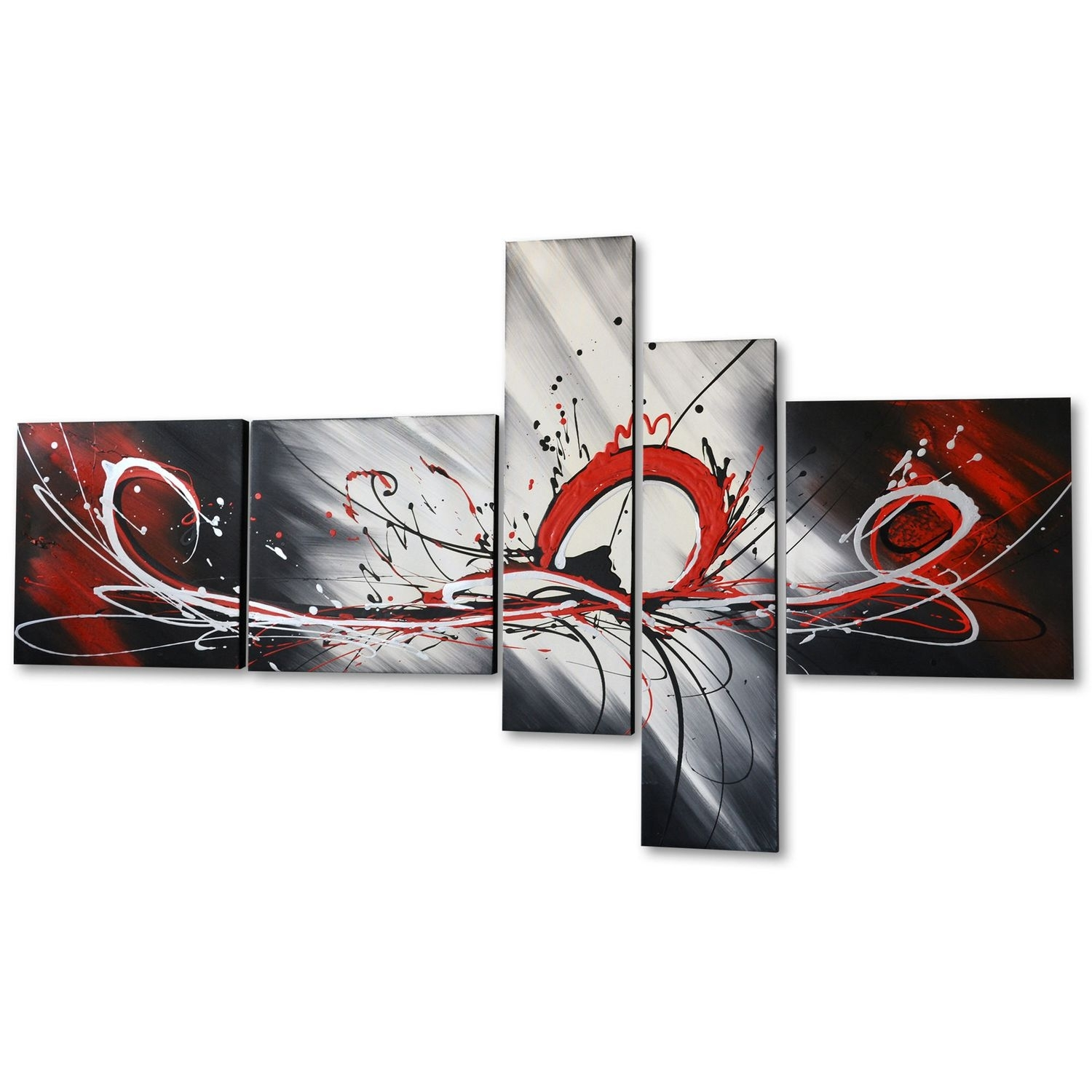 Design Art – Red Splash Hand Painted Textured Oil Painting On Throughout 2018 Canvas Wall Art In Canada (View 14 of 15)