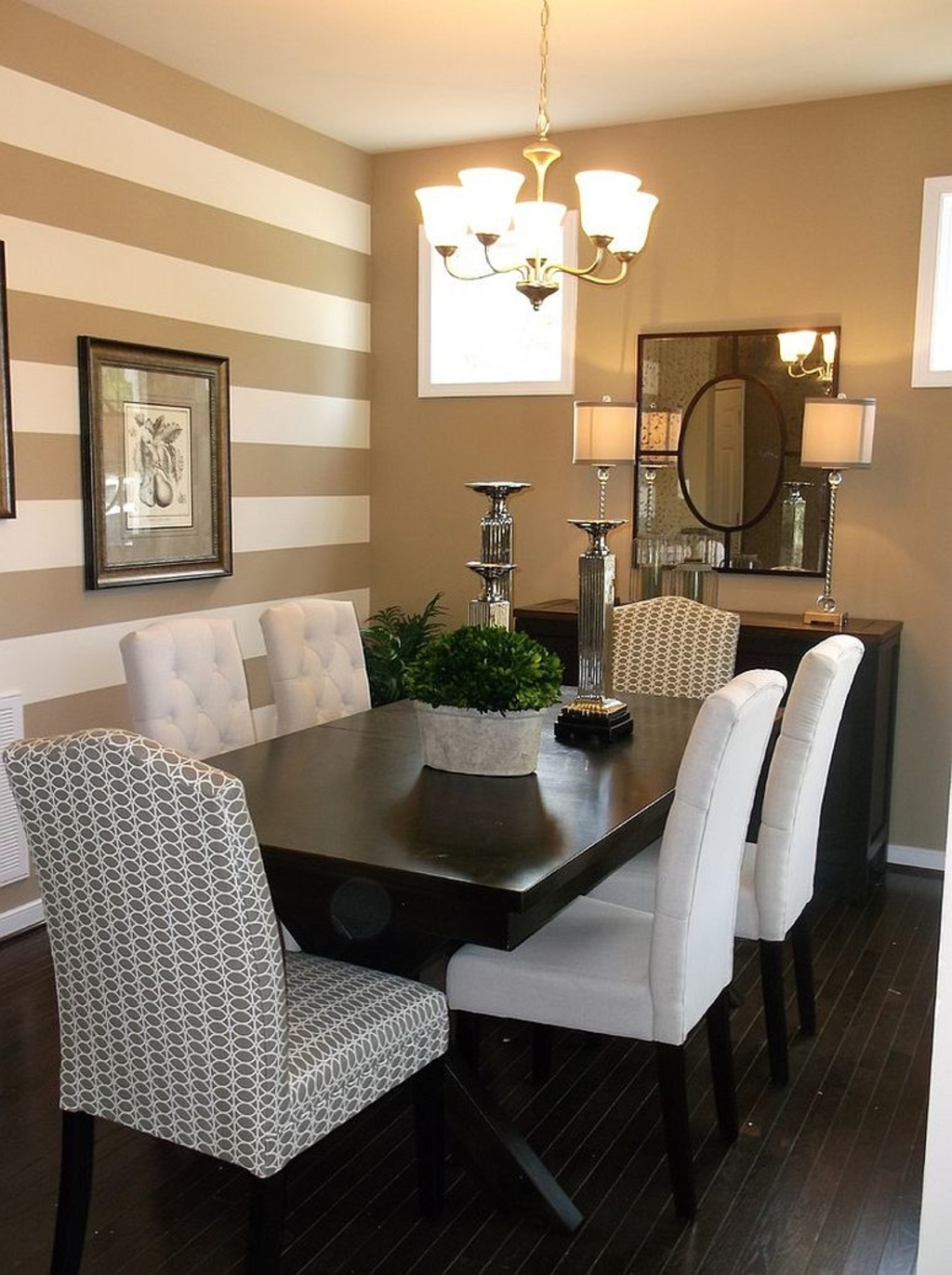 Design Ideas: Traditional Dining Room With A Striped Accent Wall regarding Most Recent Stripe Wall Accents