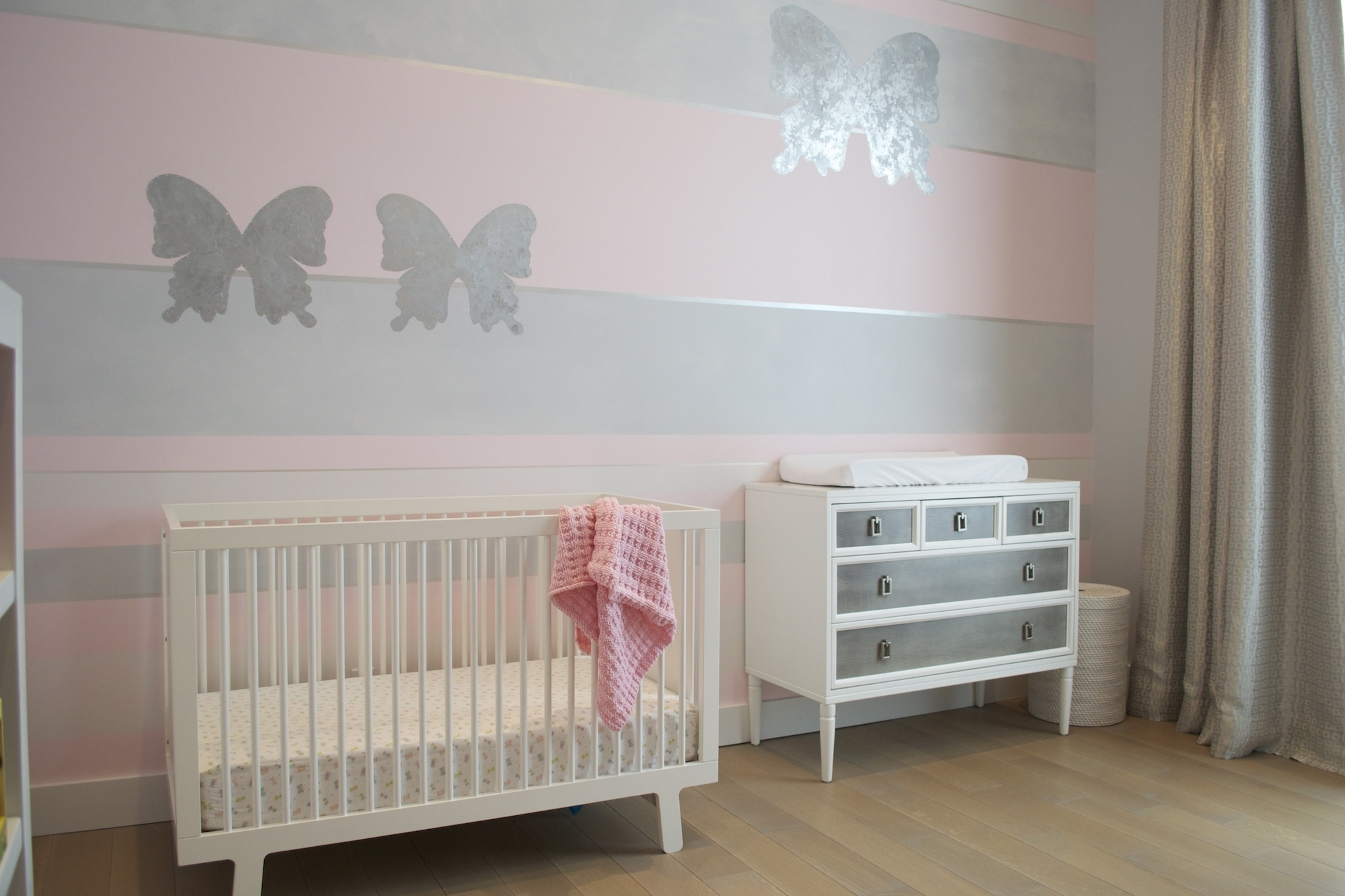 Design Reveal: Pink Butterfly Nursery – Project Nursery Within Current Girl Nursery Wall Accents (View 8 of 15)