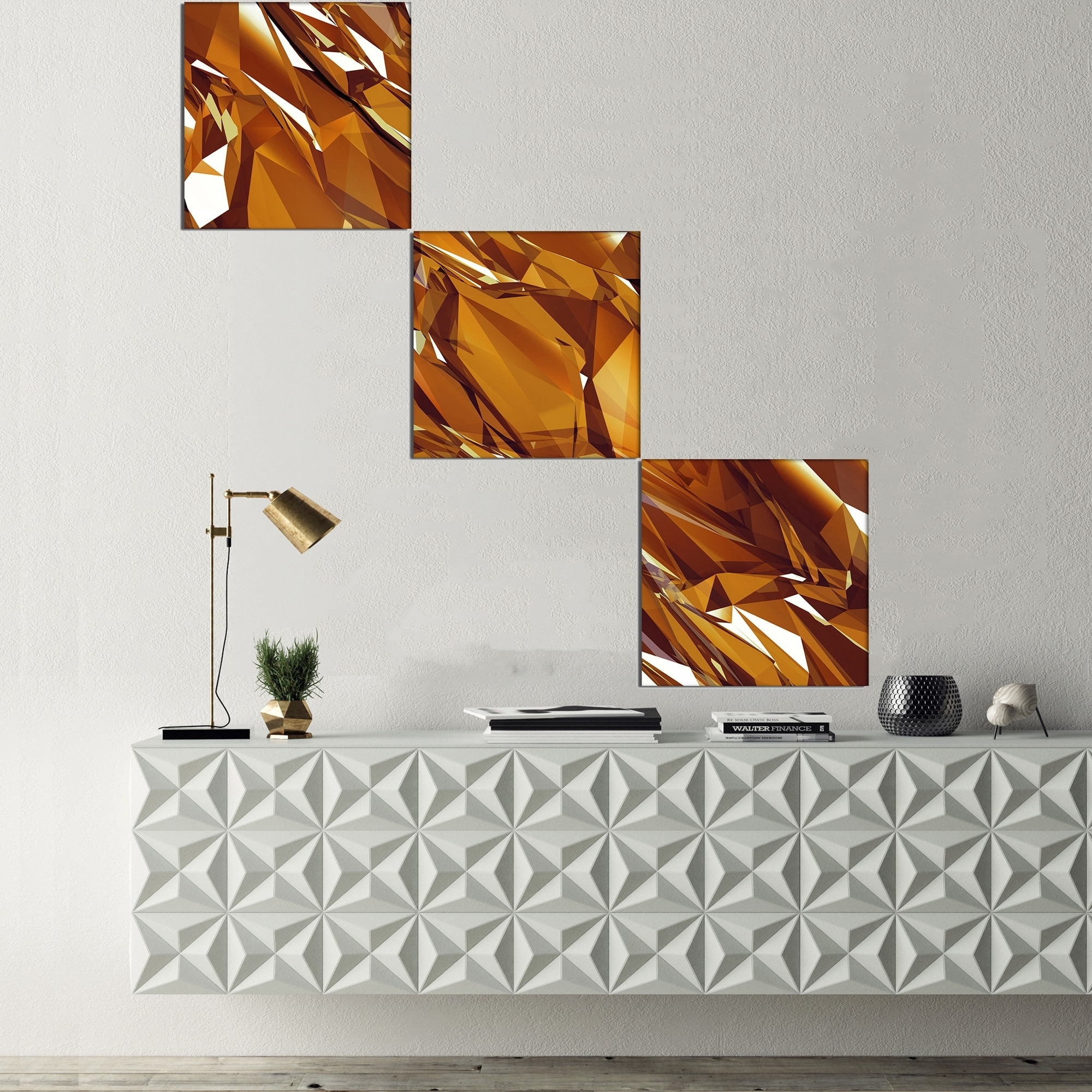 Designart '3D Gold Crystal Background' Abstract Canvas Wall Art Within Recent Gold Canvas Wall Art (View 6 of 15)