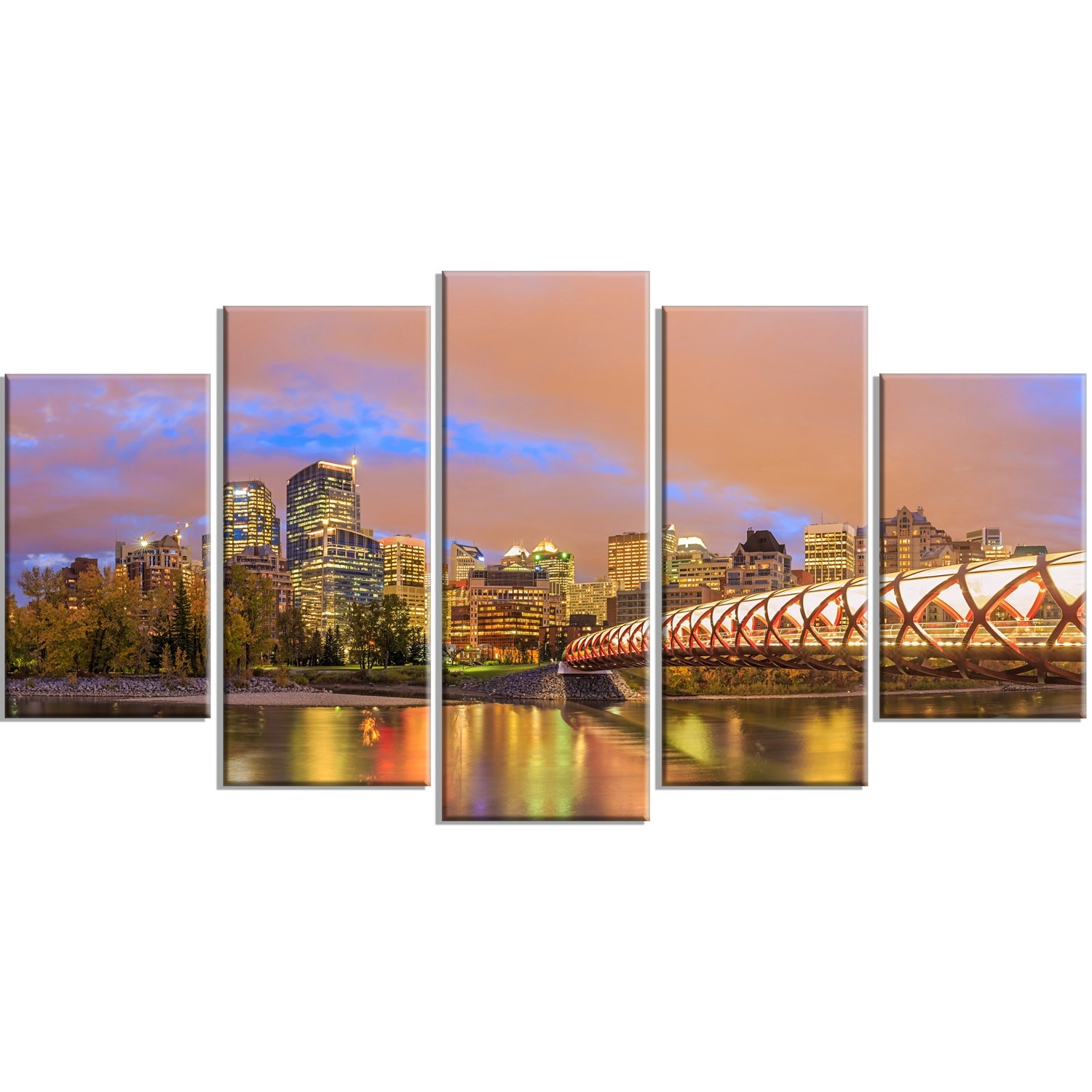 Designart 'calgary At Night' 5 Piece Wall Art On Wrapped Canvas With Most Recently Released Calgary Canvas Wall Art (View 5 of 15)
