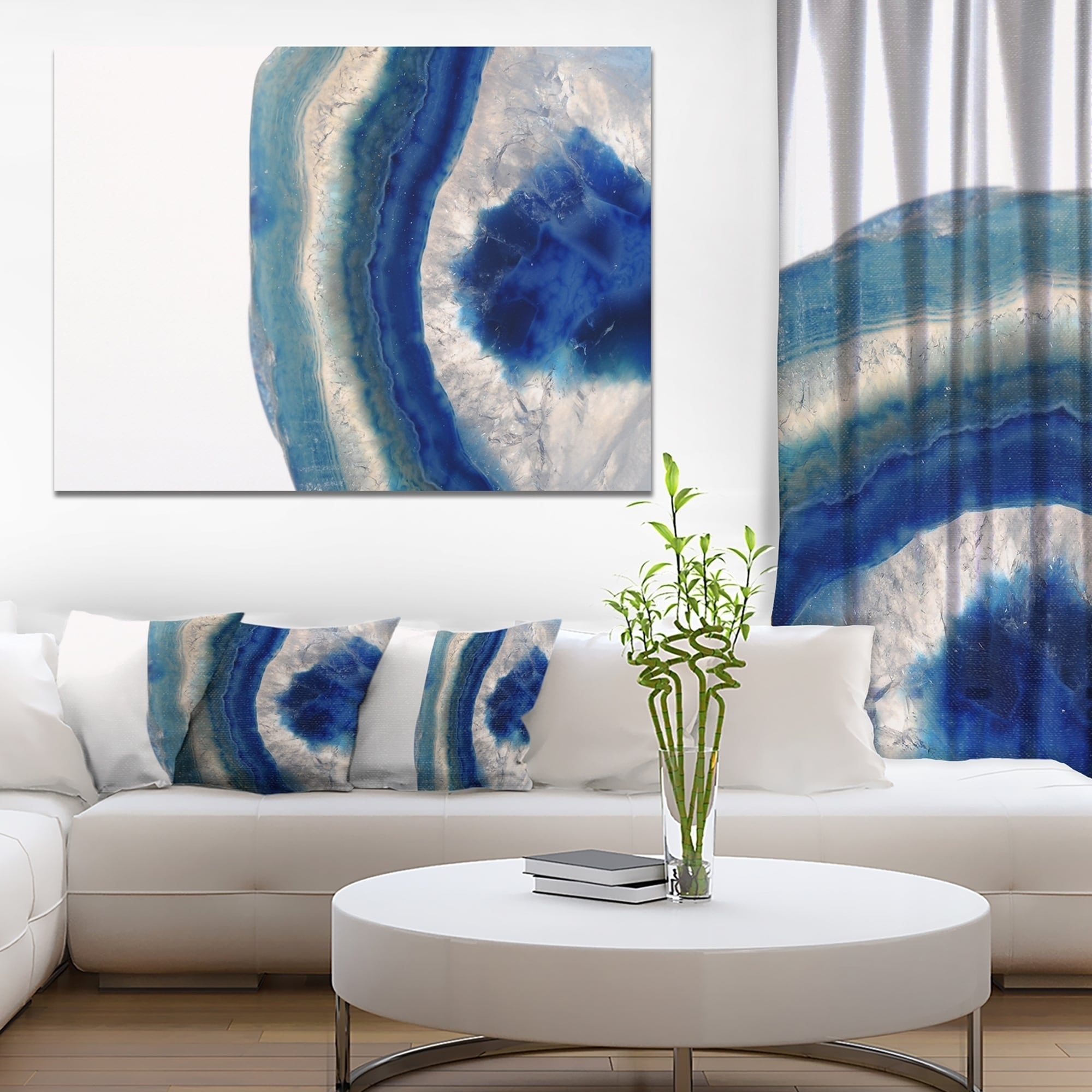 Designart 'macro Of Blue Agate Stone' Abstract Canvas Wall Art Inside Most Popular Blue Canvas Wall Art (View 8 of 15)