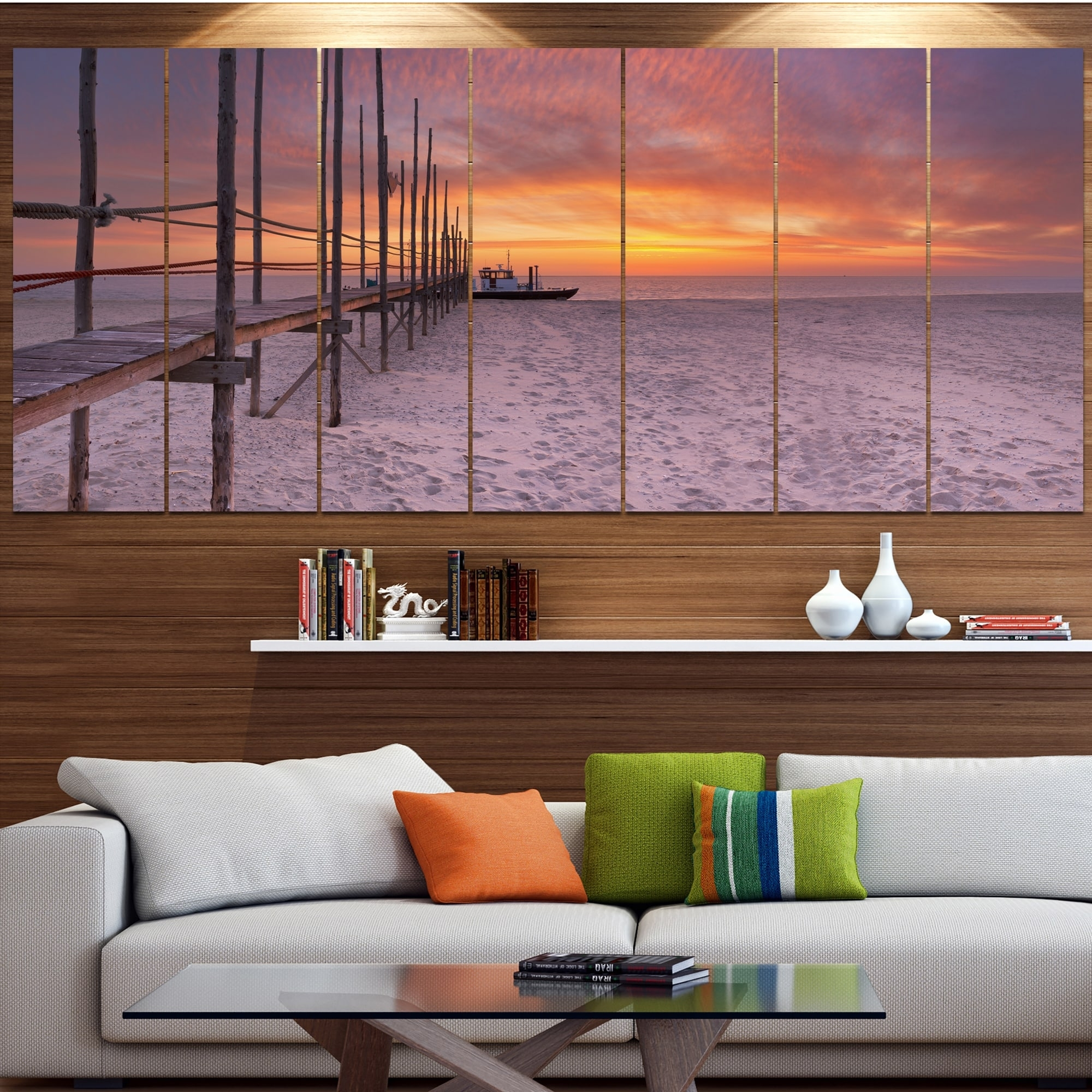 Designart 'texel Island Seaside Jetty Panorama' Modern Seashore With Regard To Most Recently Released Jetty Canvas Wall Art (View 8 of 15)