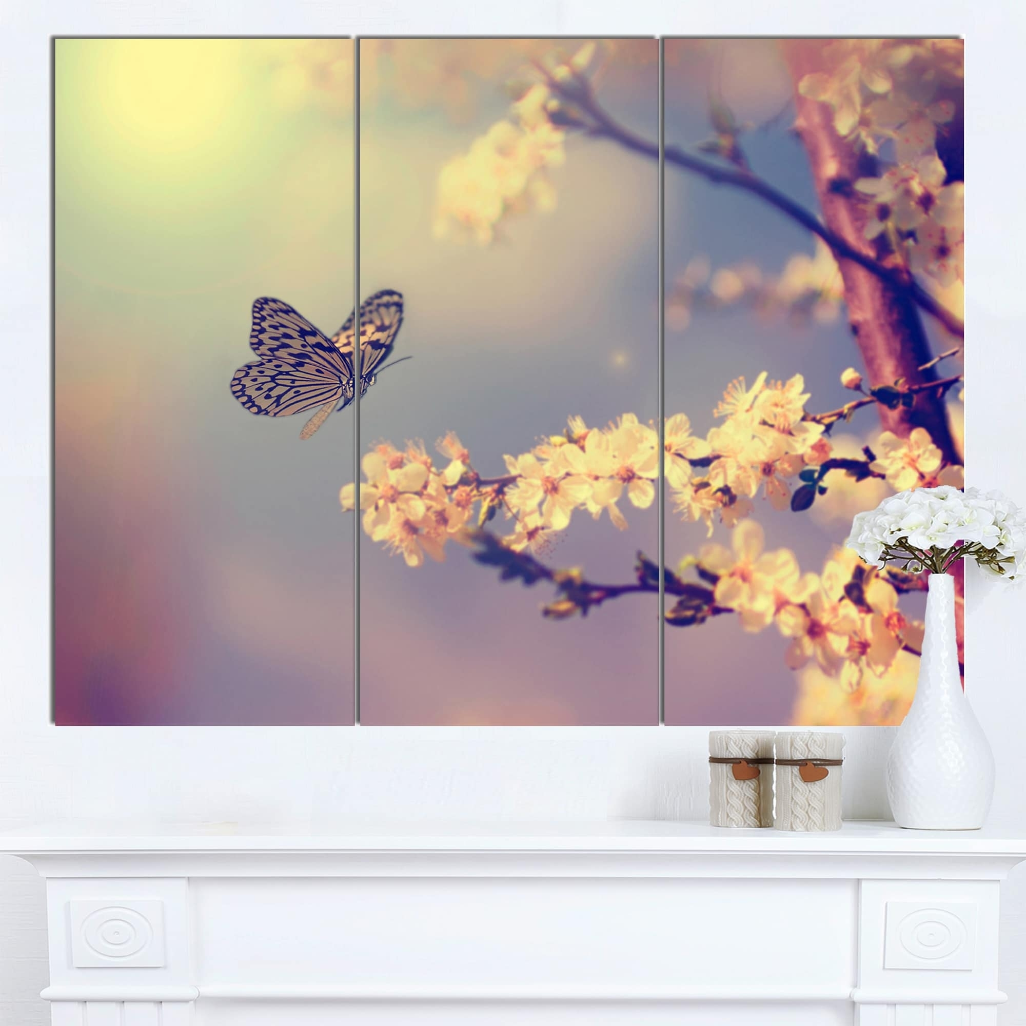 Designart 'vintage Butterfly With Flowers' Modern Flower Canvas In Latest Butterflies Canvas Wall Art (View 5 of 15)
