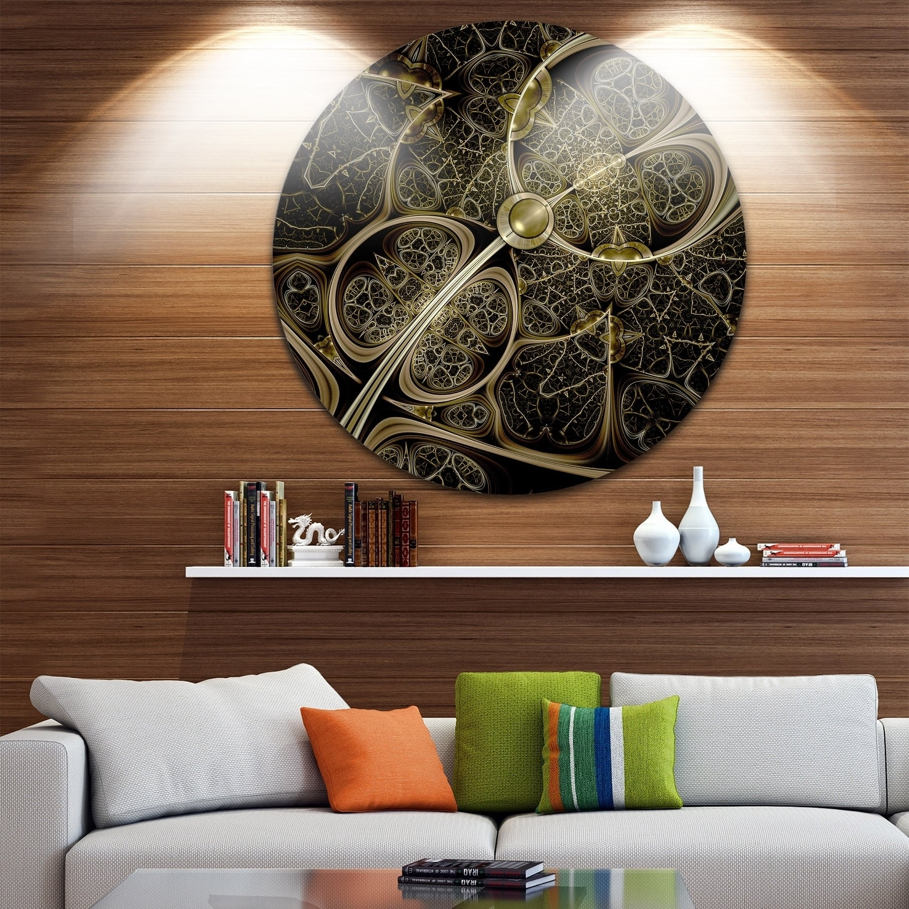 Designart 'yellow Metallic Fabric Pattern' Digital Art Circle Wall intended for Current Fabric Circle Wall Art