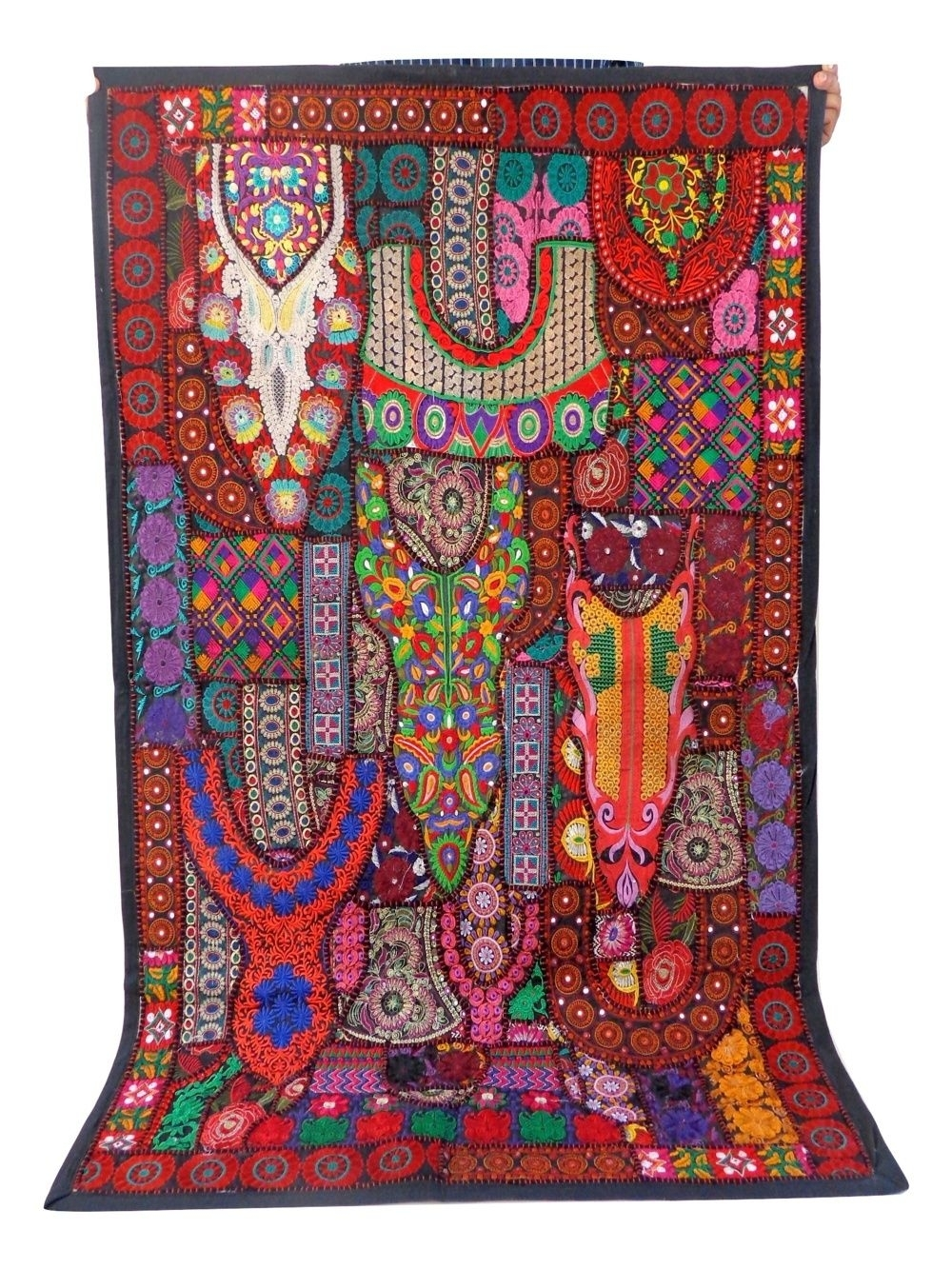 Designer Vintage Embroidered Patchwork Tapestry – Boho Hippie Wall Regarding Most Current Indian Fabric Wall Art (View 3 of 15)