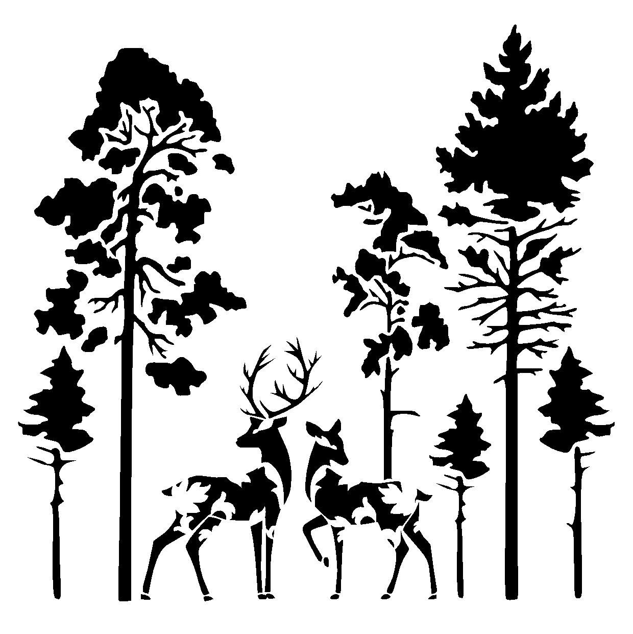 Details About Deers In Forest Stencil Craft,fabric,glass,furniture regarding Most Up-to-Date Fabric Animal Silhouette Wall Art