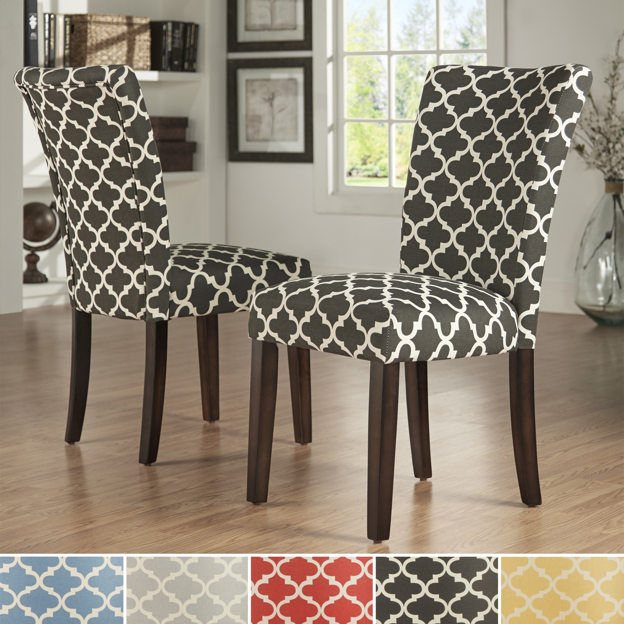 Dining: Moroccan Fabric Print Parsons Chair And Window Treatments for Most Current Moroccan Fabric Wall Art