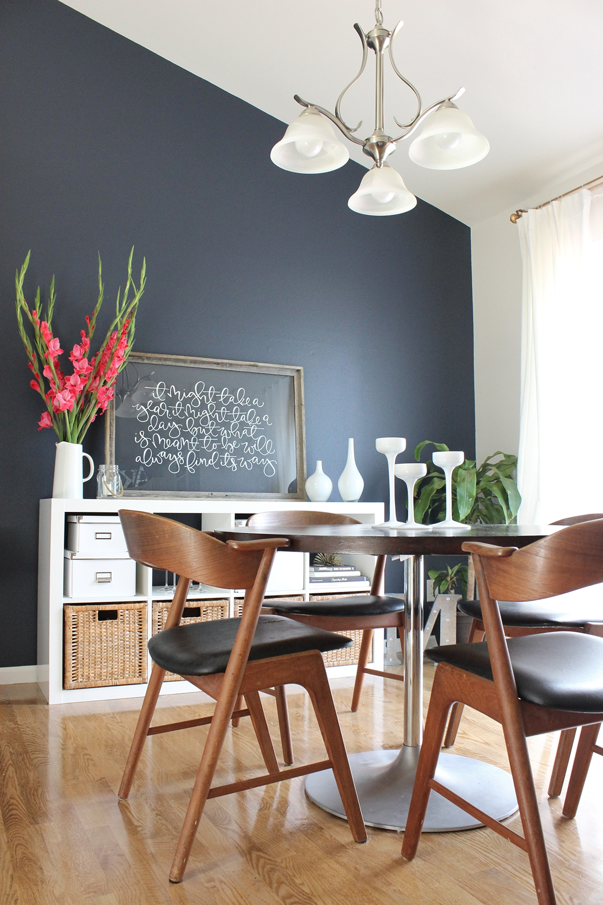 Dining Room Makeover | Navy Accent Walls, Hale Navy And Benjamin inside Most Recent Navy Wall Accents