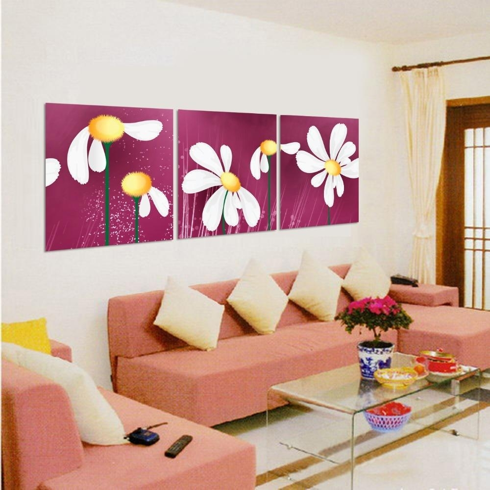 Discount Art Sets Paintings Canvas Flowers Abstract Paintings Throughout Most Current Fabric Square Wall Art (View 3 of 15)