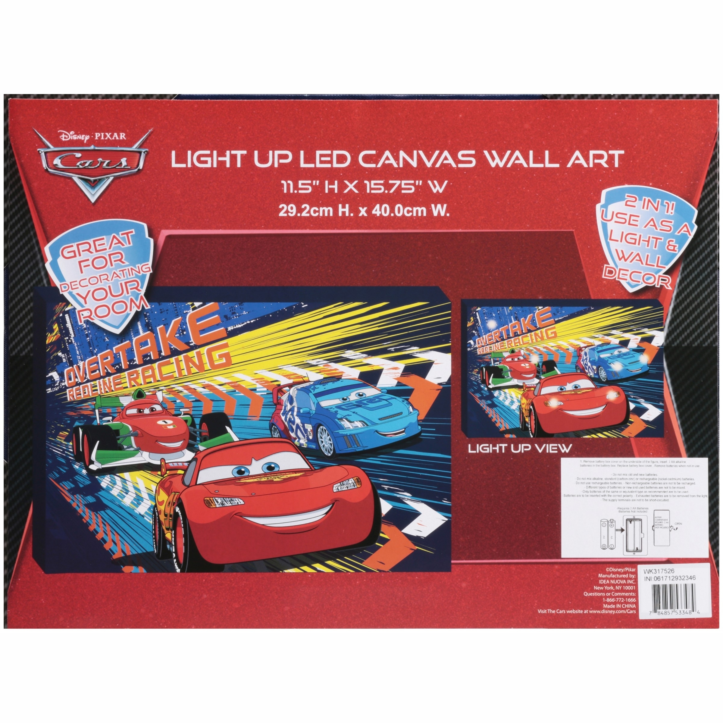 Disney Cars Light Up Canvas Wall Art With Bonus Led Lights Pertaining To Best And Newest Cars Theme Canvas Wall Art (View 6 of 15)