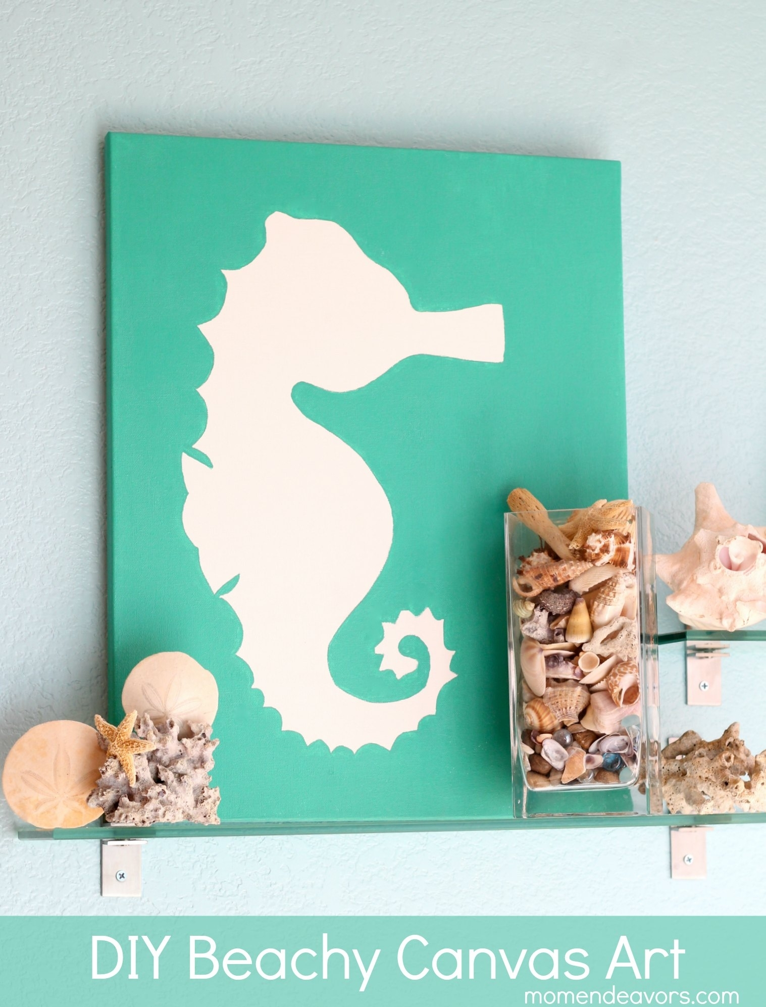 Diy Art: Beachy Seahorse Canvas Throughout Newest Beach Themed Canvas Wall Art (View 11 of 15)